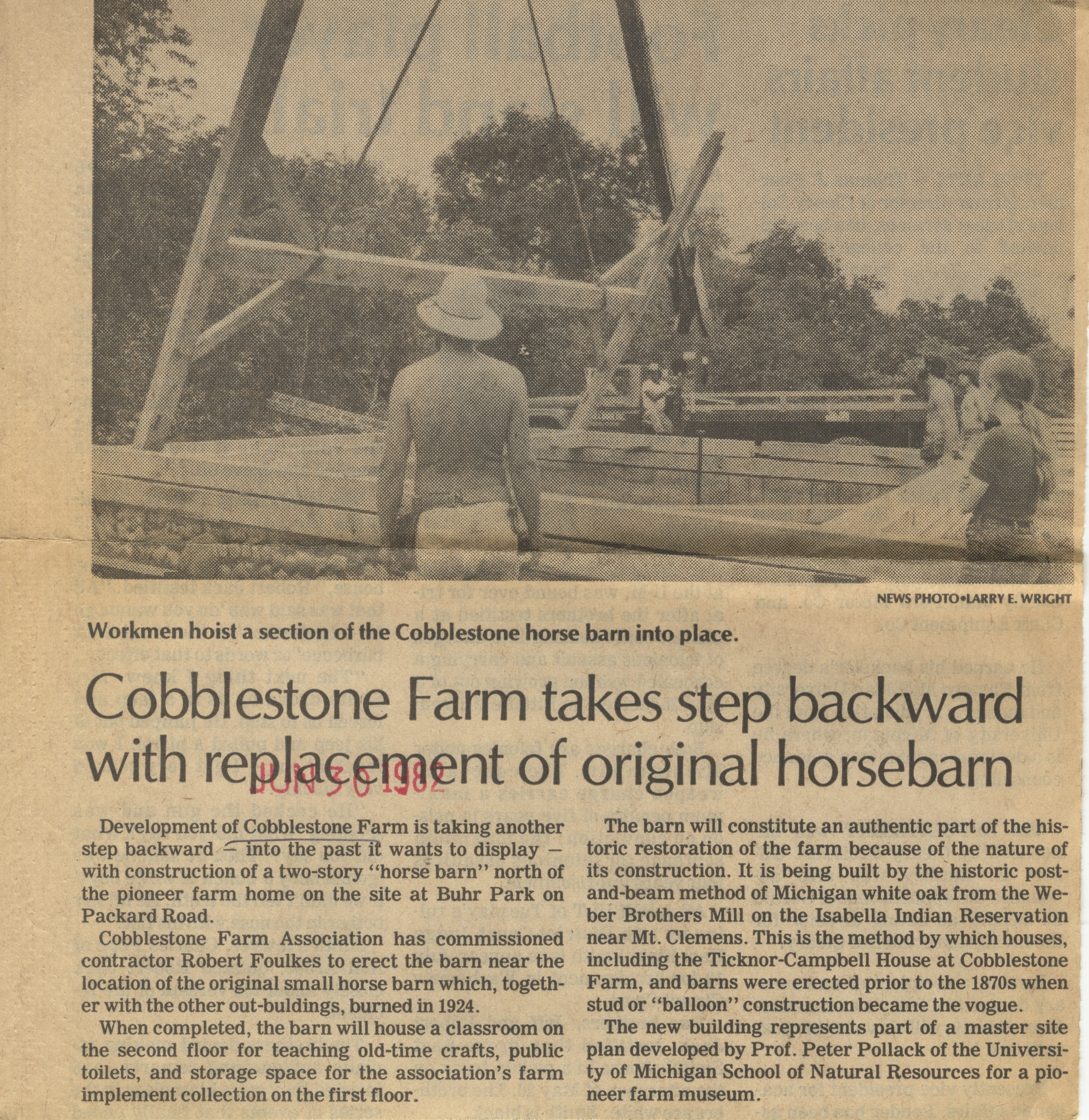 Cobblestone Farm Takes Step Backward With Replacement Of Original Horsebarn image
