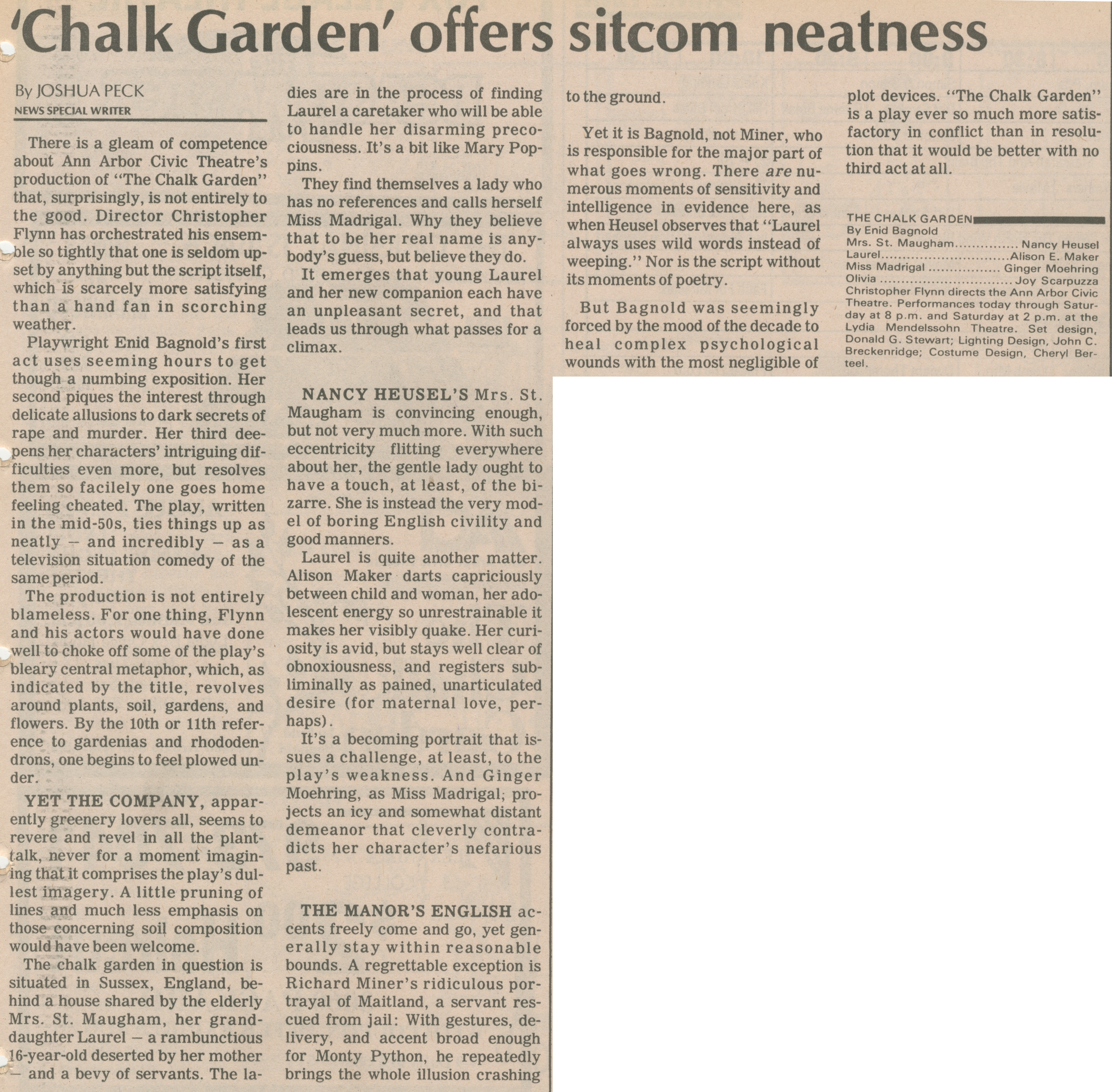 'Chalk Garden' Offers Sitcom Neatness image