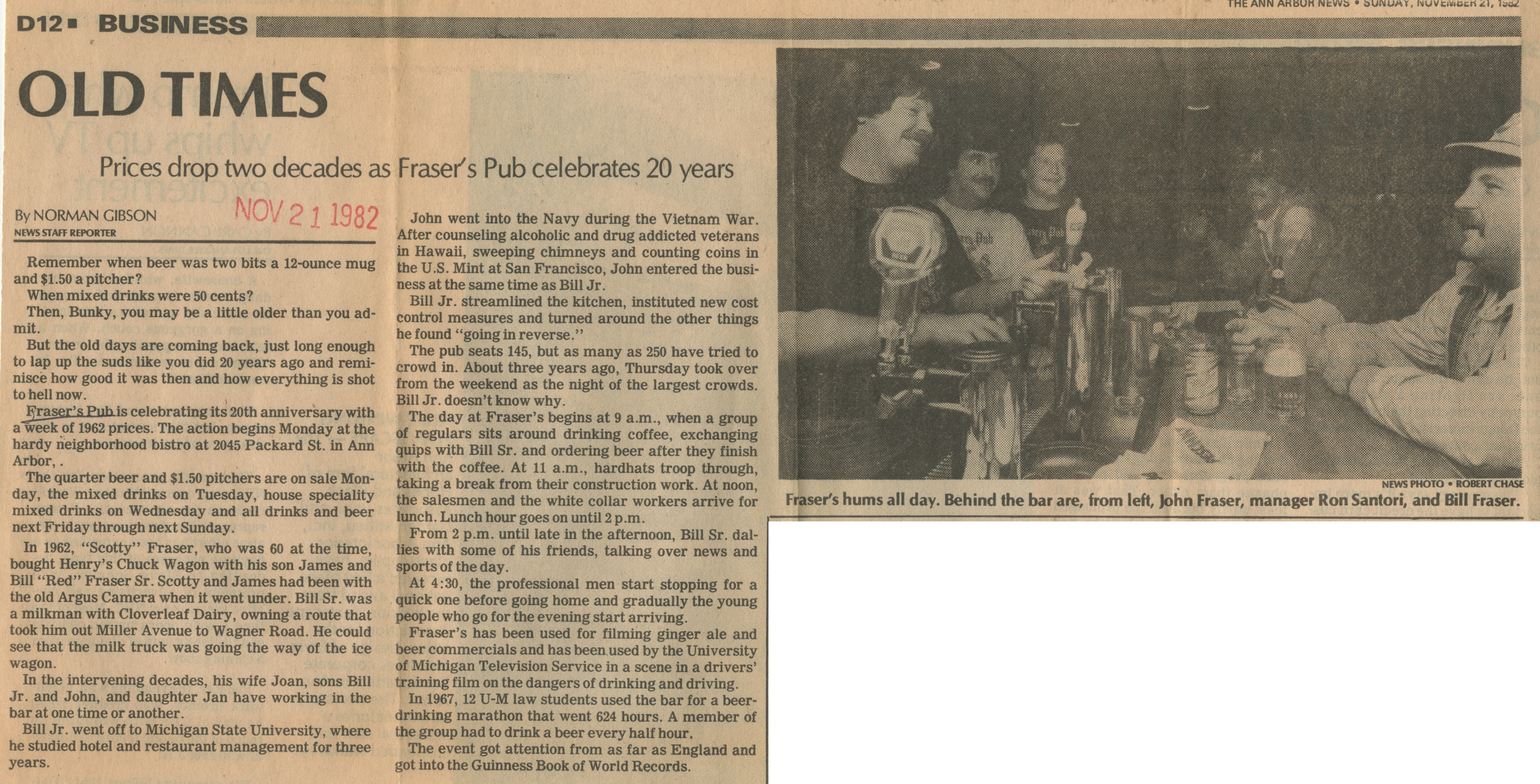 Old Times: Prices Drop Two Decades as Fraser's Pub Celebrates 20 Years image