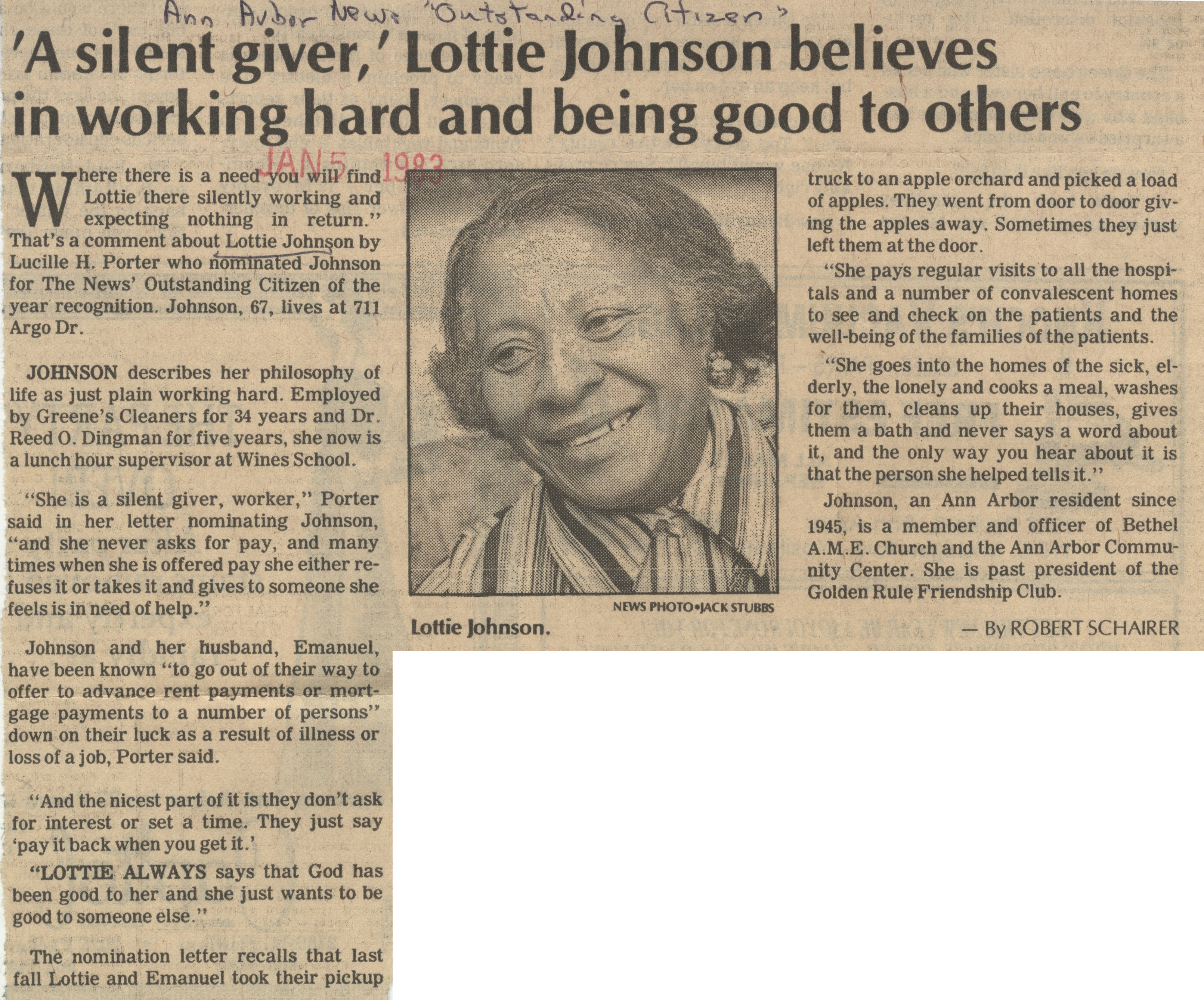 'A Silent Giver, ' Lottie Johnson Believes In Working Hard And Being Good To Others image
