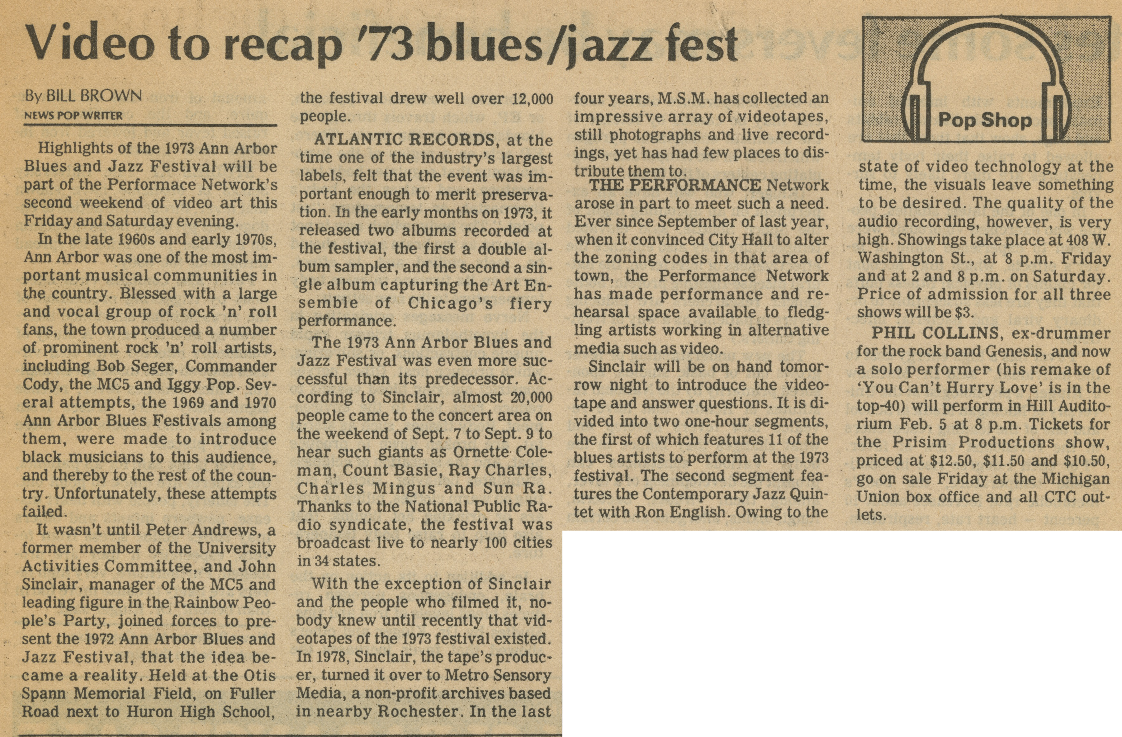 Video to recap '73 blues/jazz fest image
