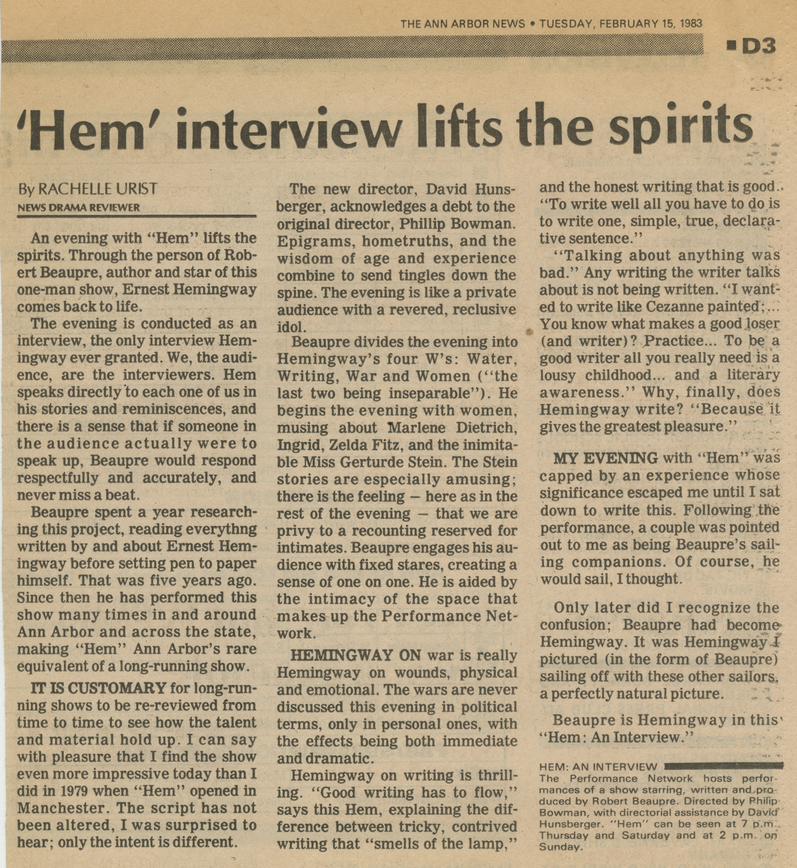 'Hem' interview lifts the spirits image