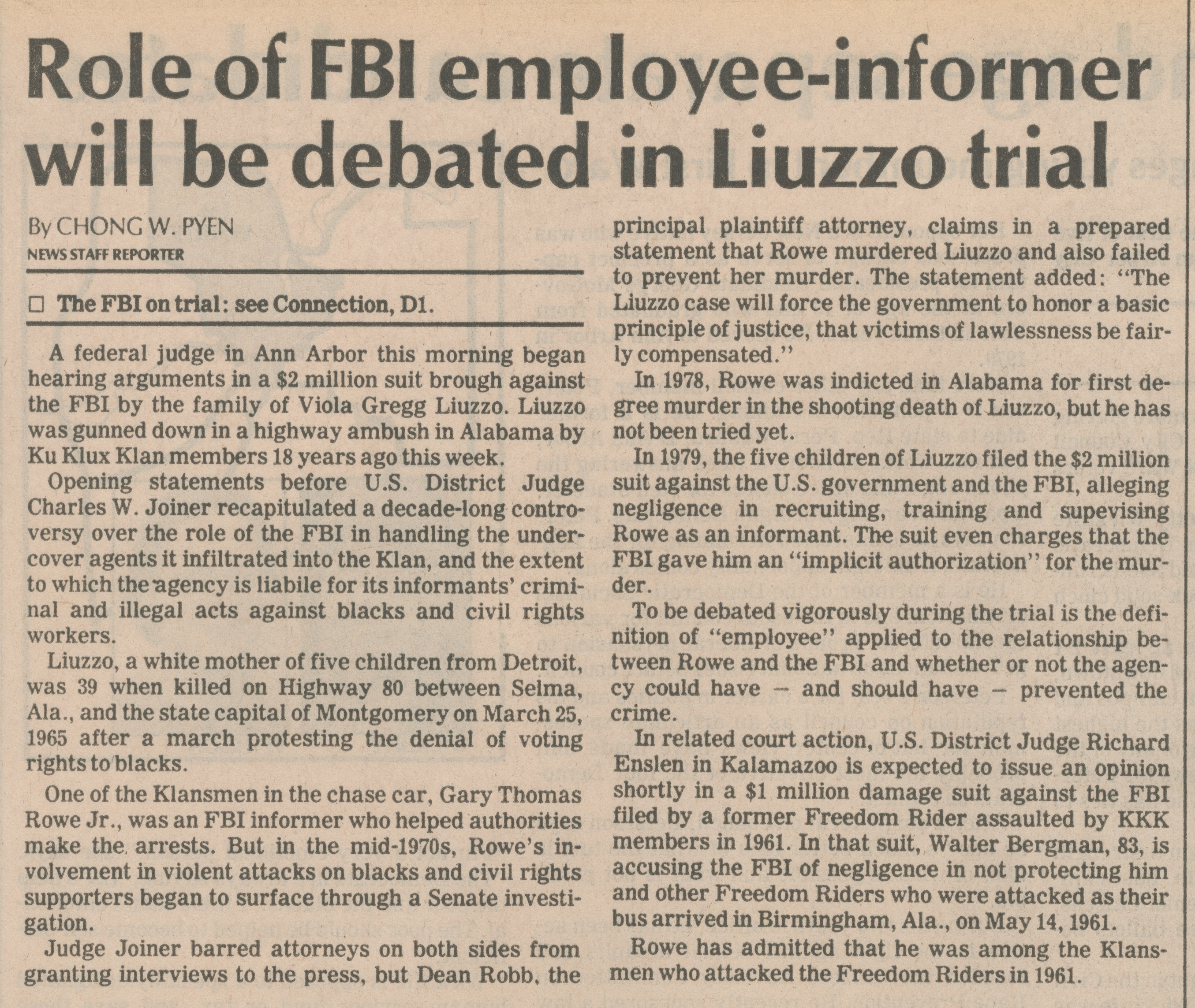 Role Of FBI Employee-Informer Will Be Debated In Liuzzo Trial image