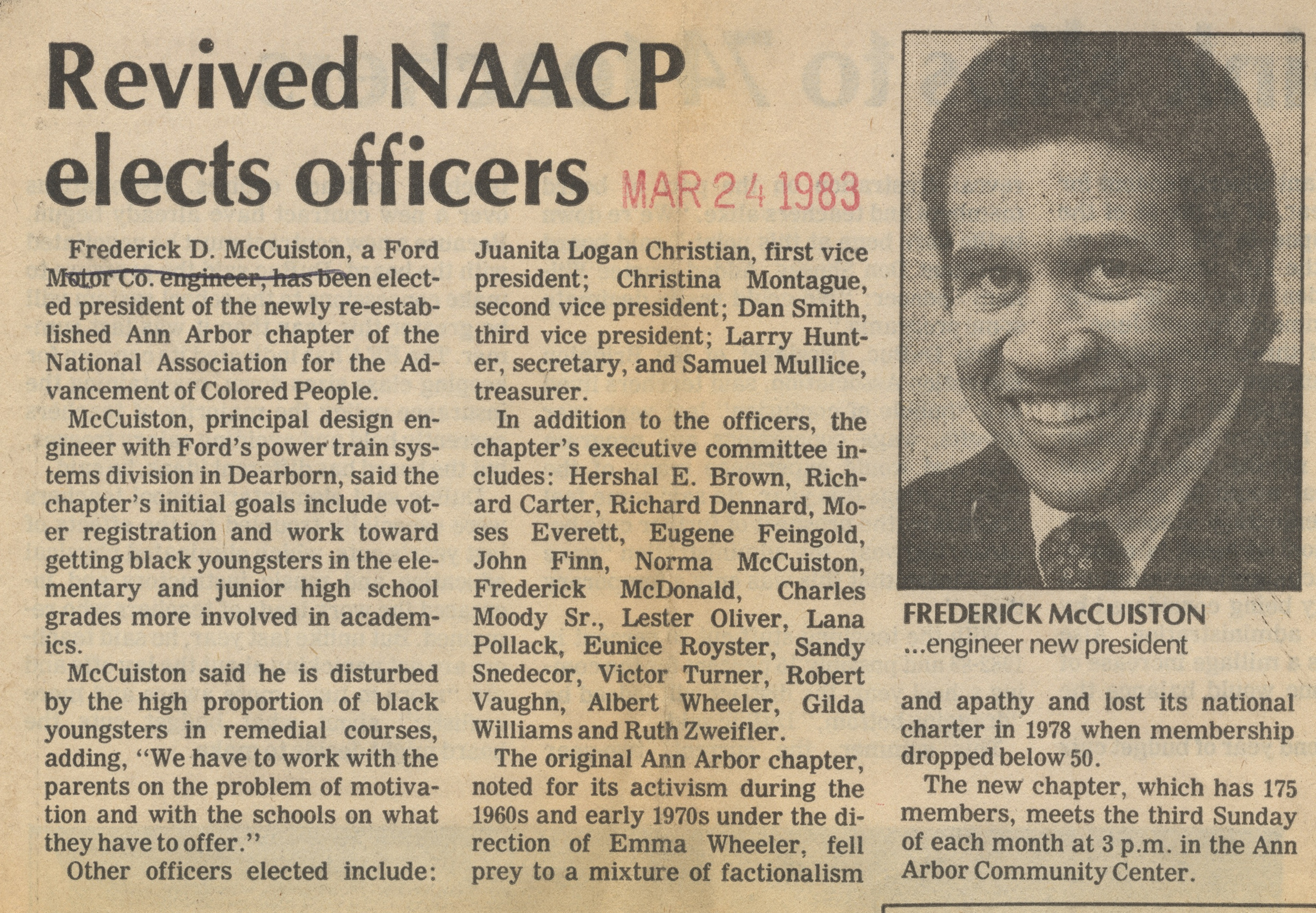 Revived NAACP Elects Officers image