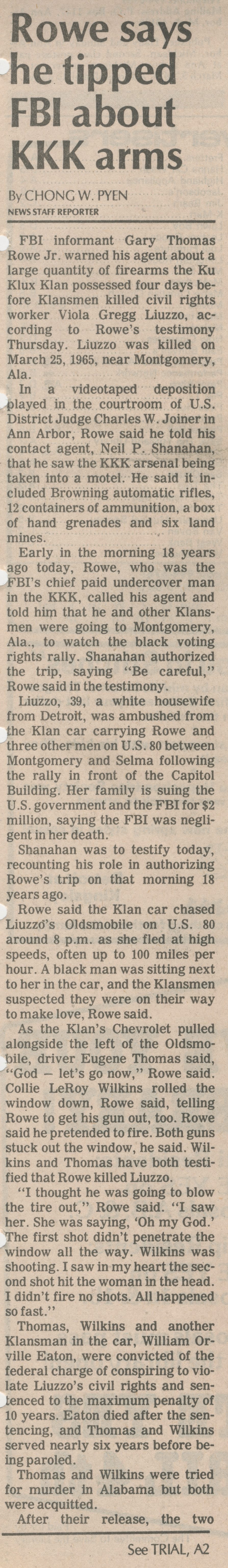 Rowe Says He Tipped FBI About KKK Arms image