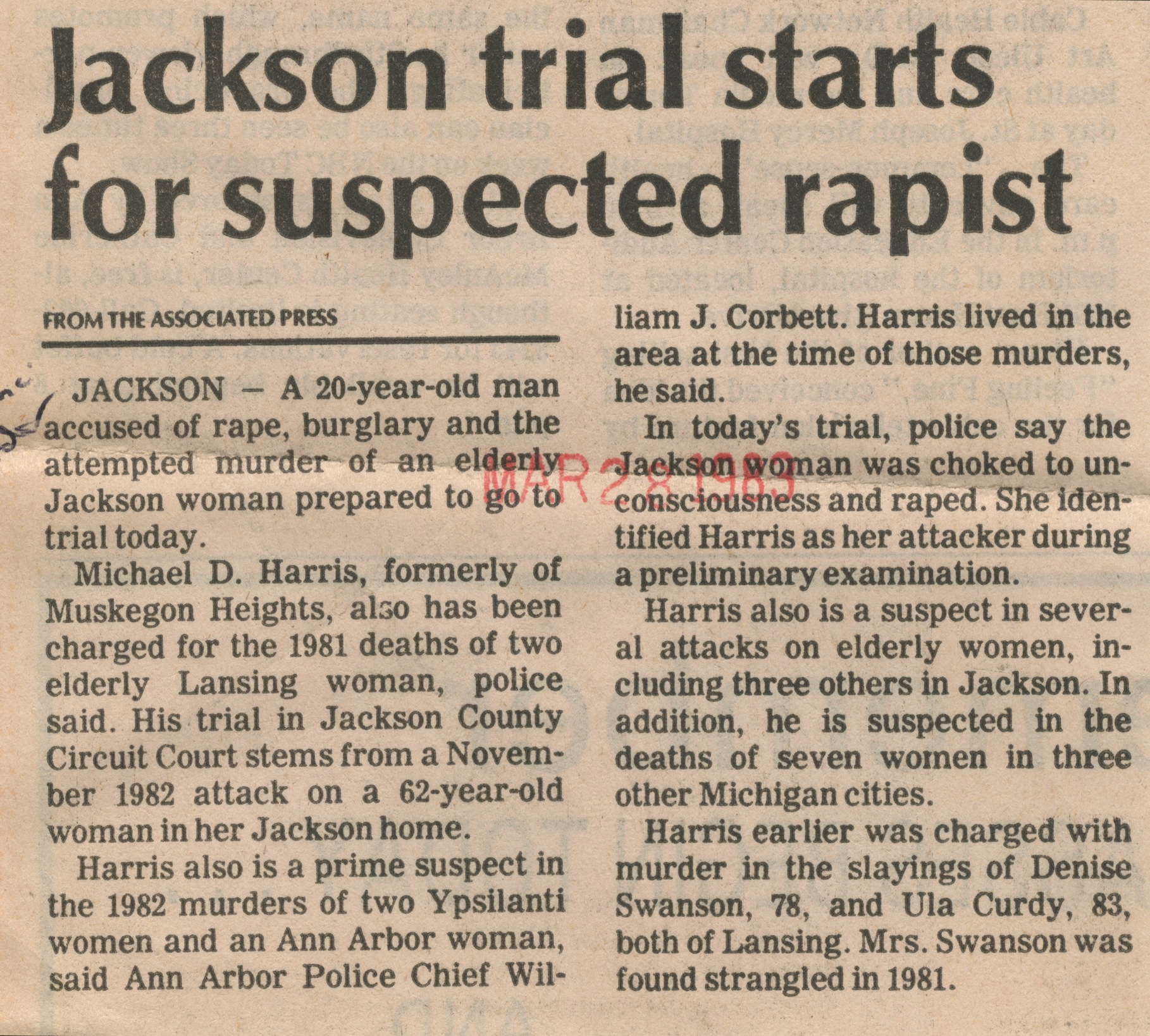 Jackson Trial Starts For Suspected Rapist image