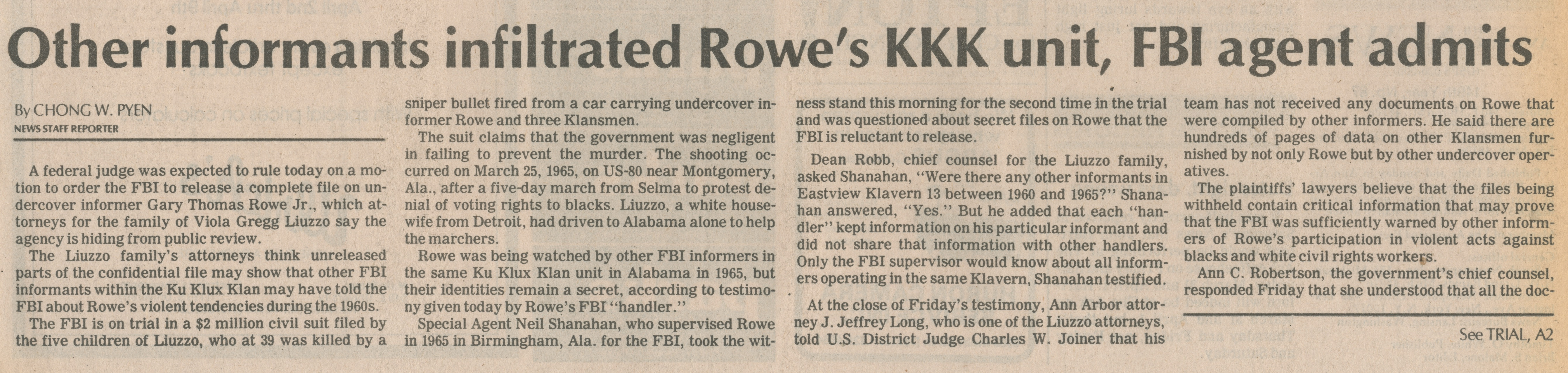 Other Informants Infiltrated Rowe's KKK Unit, FBI Agent Admits image