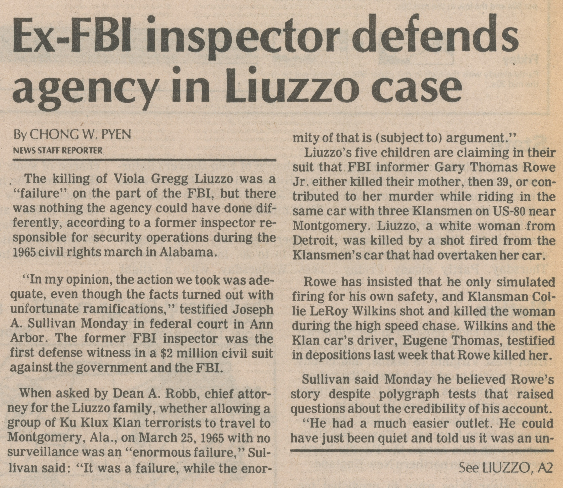 Ex-FBI Inspector Defends Agency In Liuzzo Case image