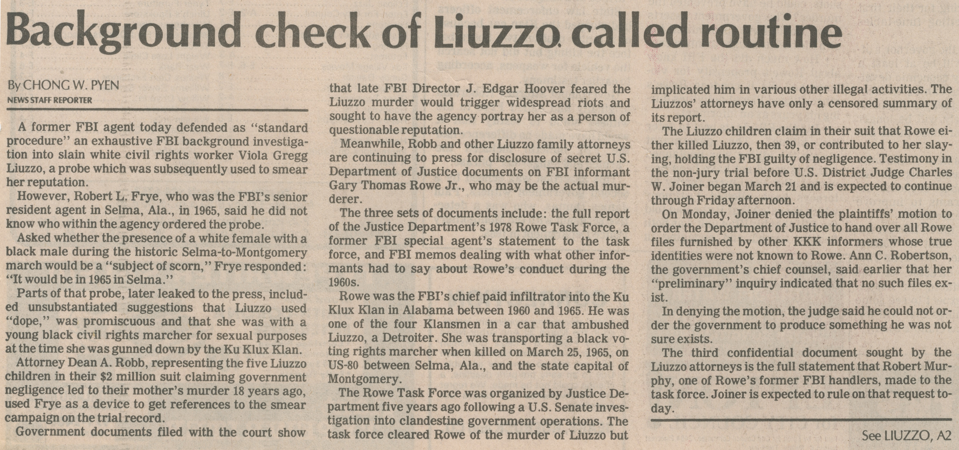 Background Check Of Liuzzo Called Routine image