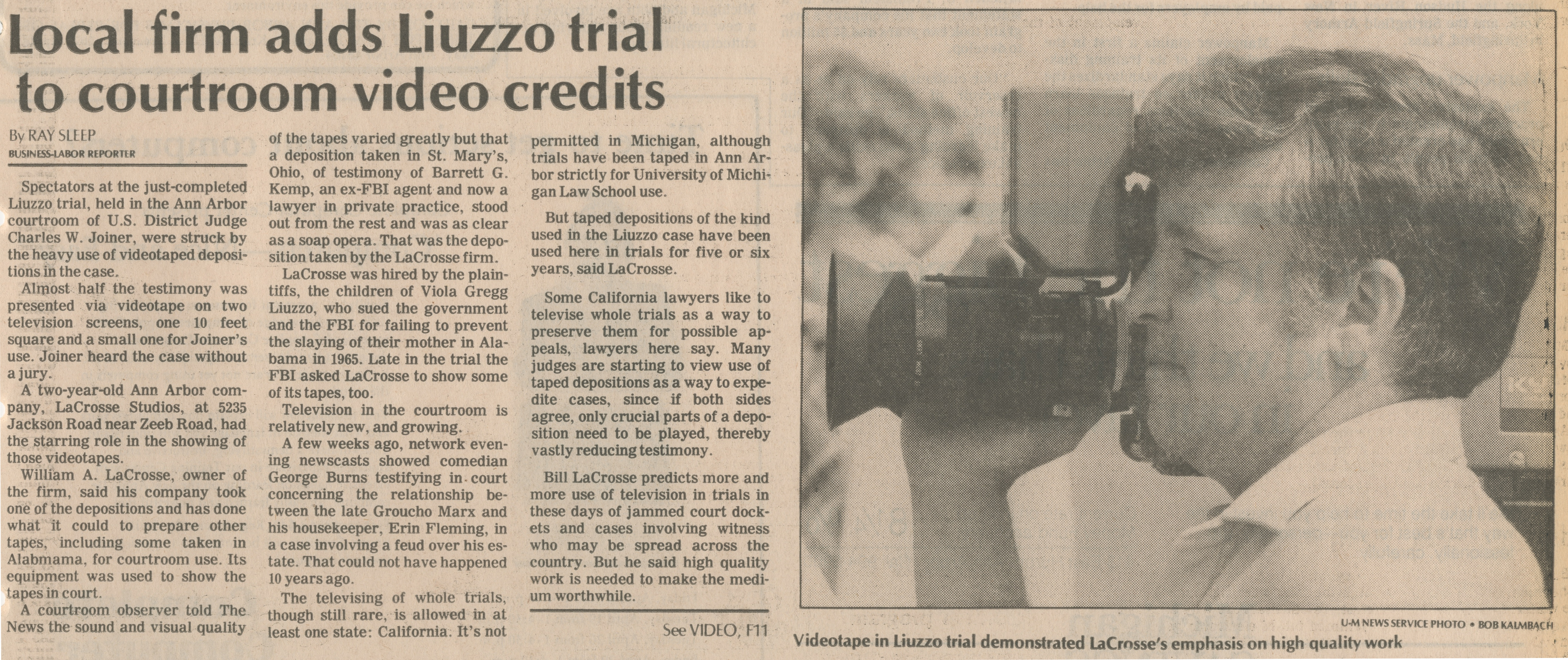 Local Firm Adds Liuzzo Trial To Courtroom Video Credits image