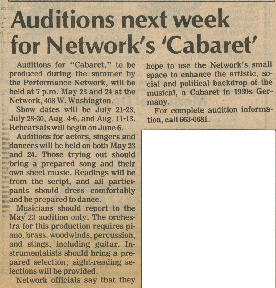 Auditions next week for Network's 'Cabaret' image