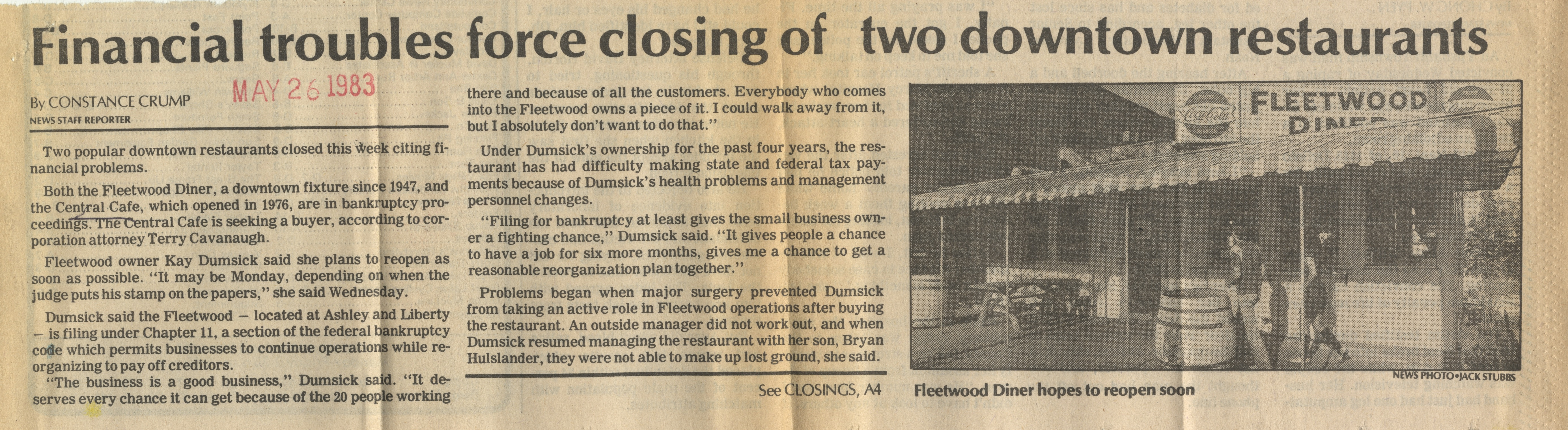 Financial Troubles Force Closing Of Two Downtown Restaurants image