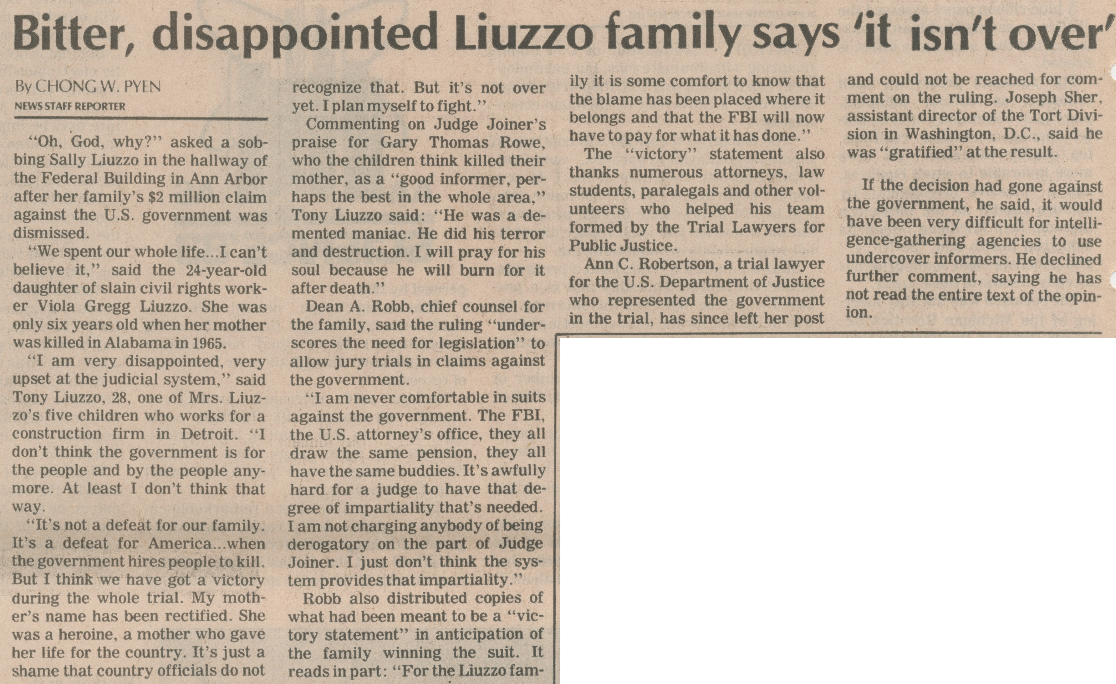 "Bitter, Disappointed Liuzzo Family Says ""It Isn't Over' image"
