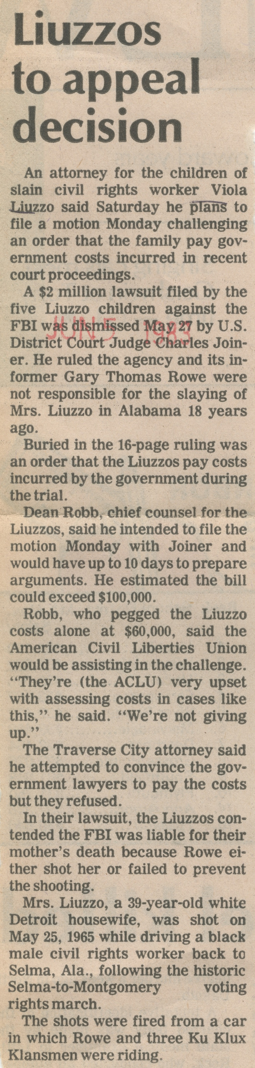 Liuzzos To Appeal Decision image