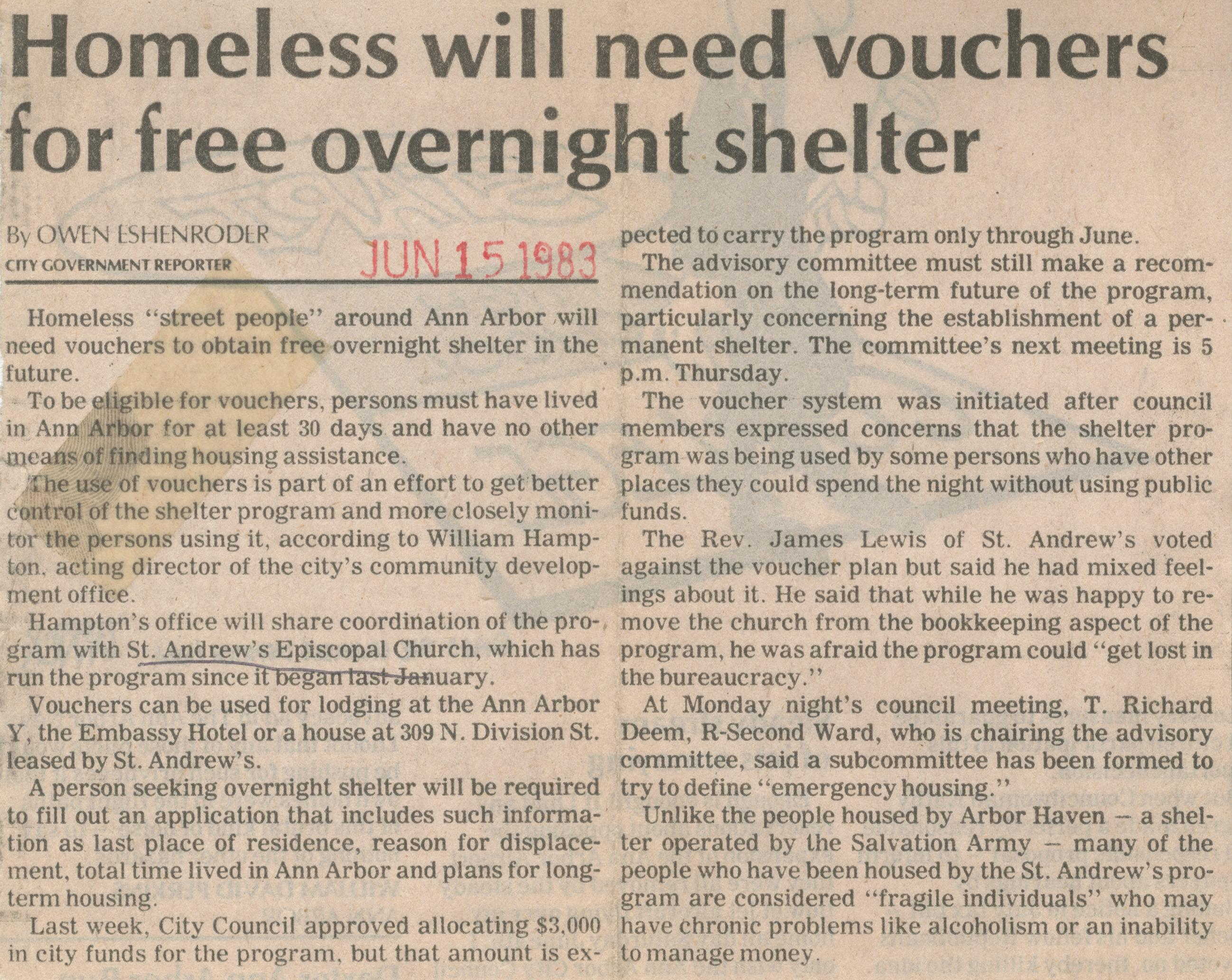 Homeless Will Need Vouchers for Free Overnight Shelter image