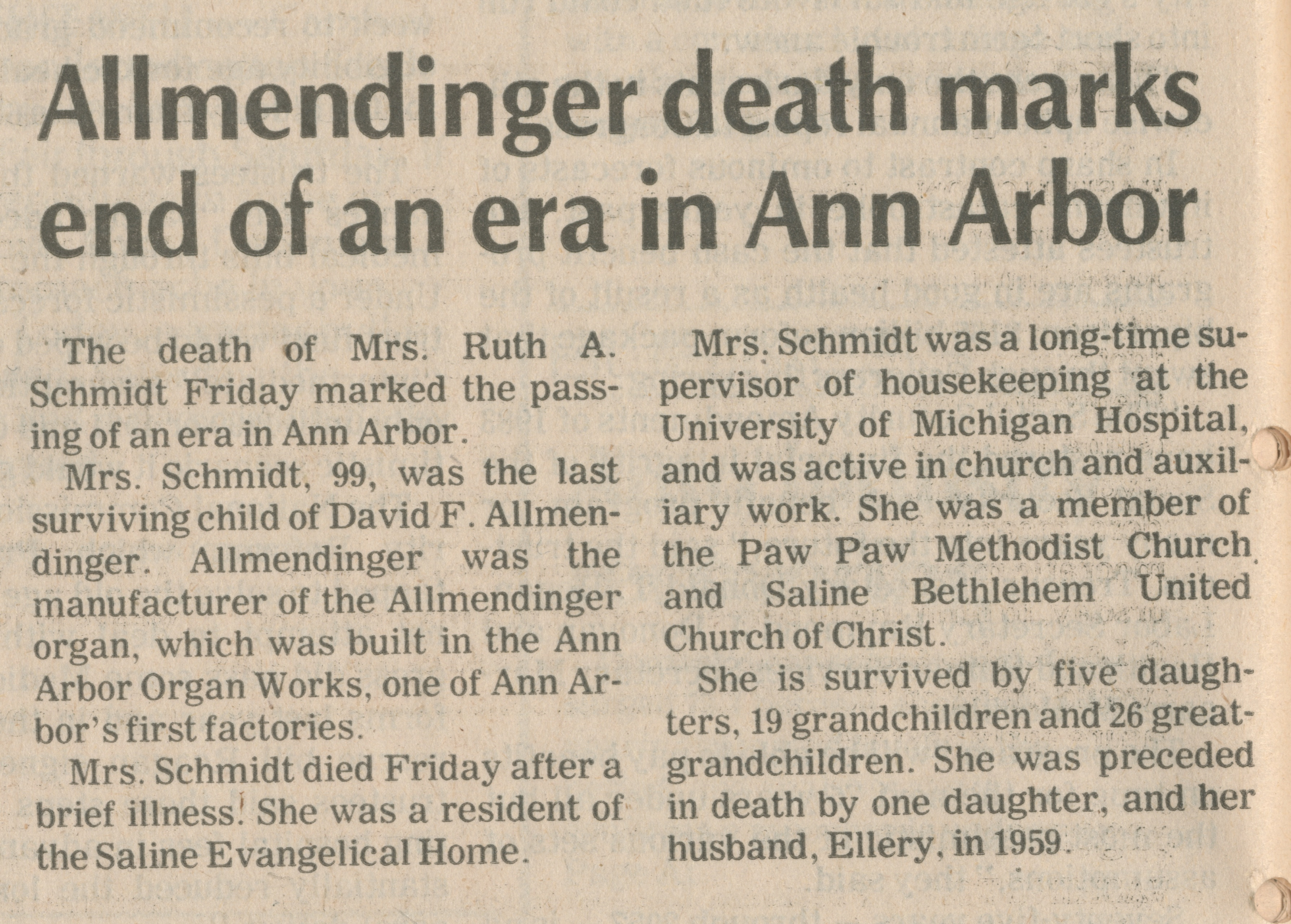 Allmendinger death marks end of an era in Ann Arbor image