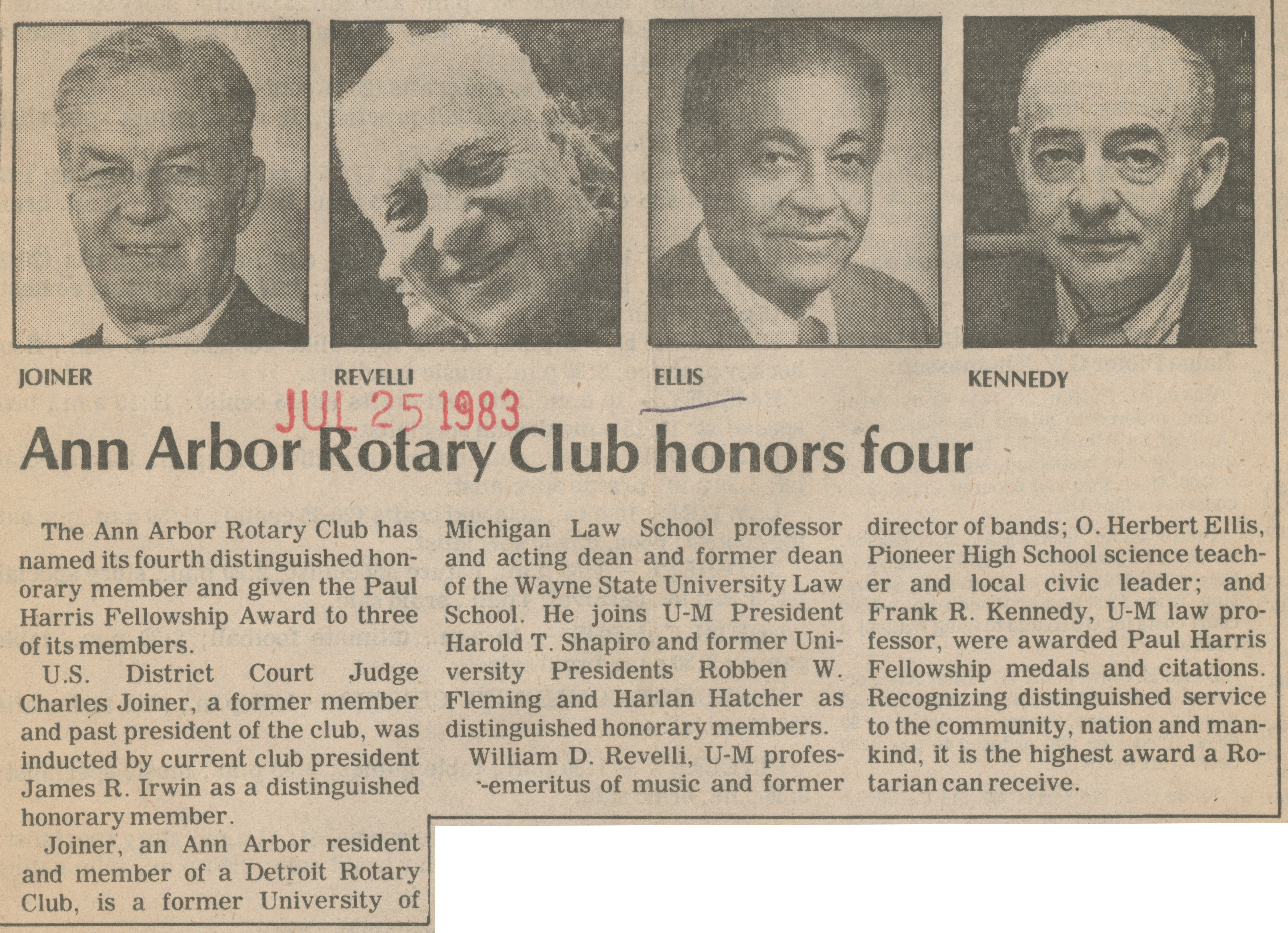 Ann Arbor Rotary Club honors four image