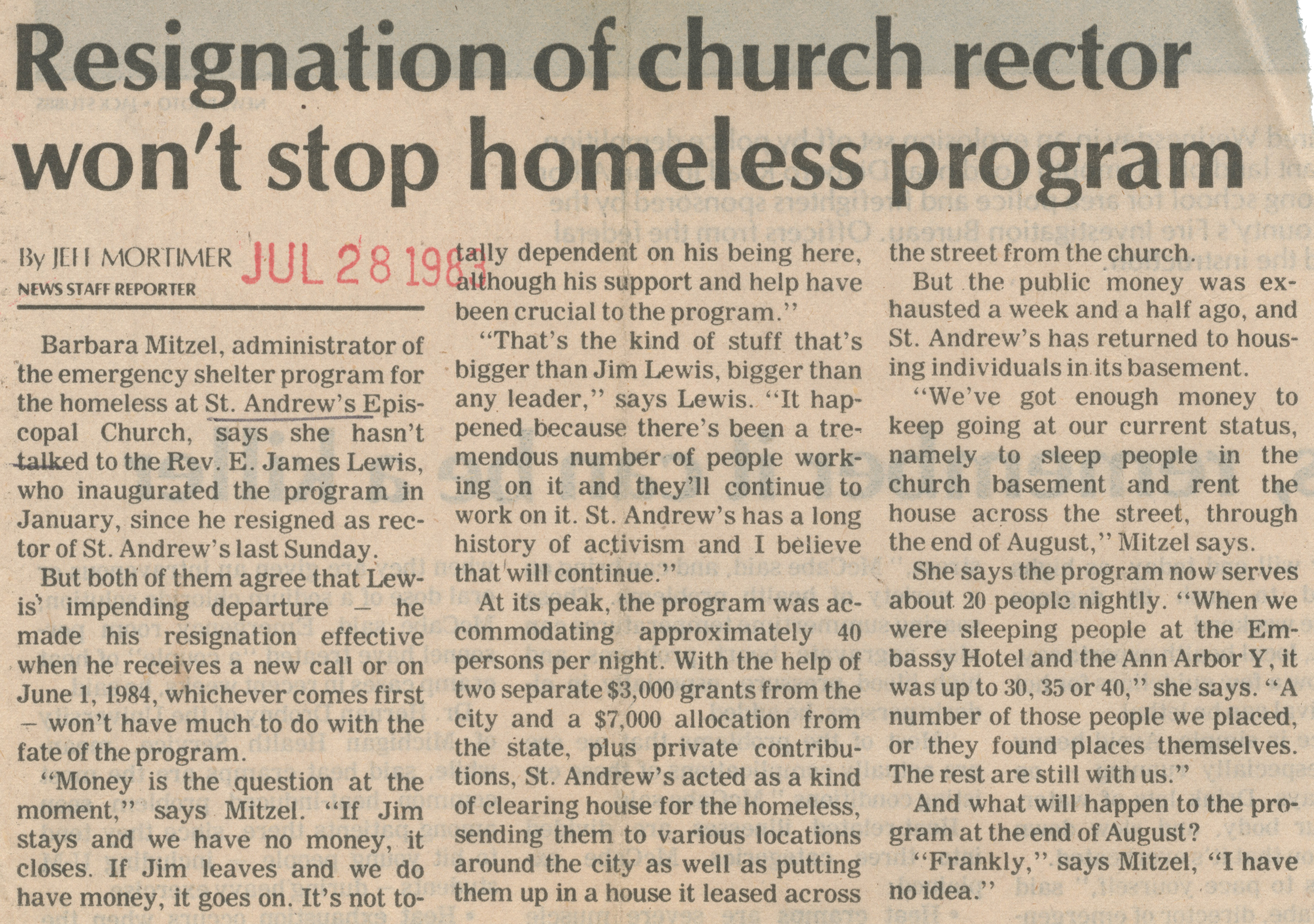 Resignation of Church Rector Won't Stop Homeless Program image