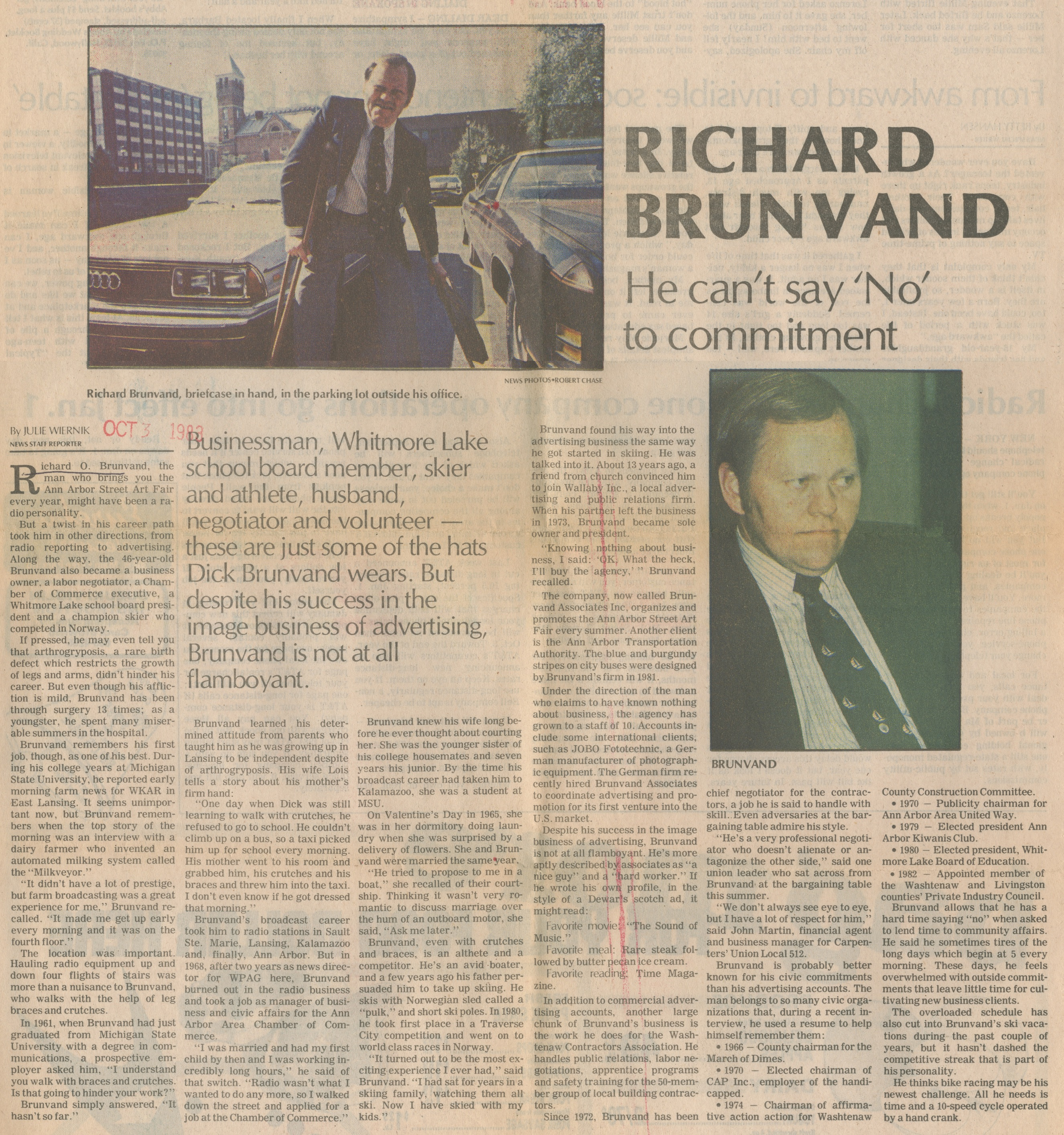 Richard Brunvand ~ He Can't Say 'No' To Commitment image