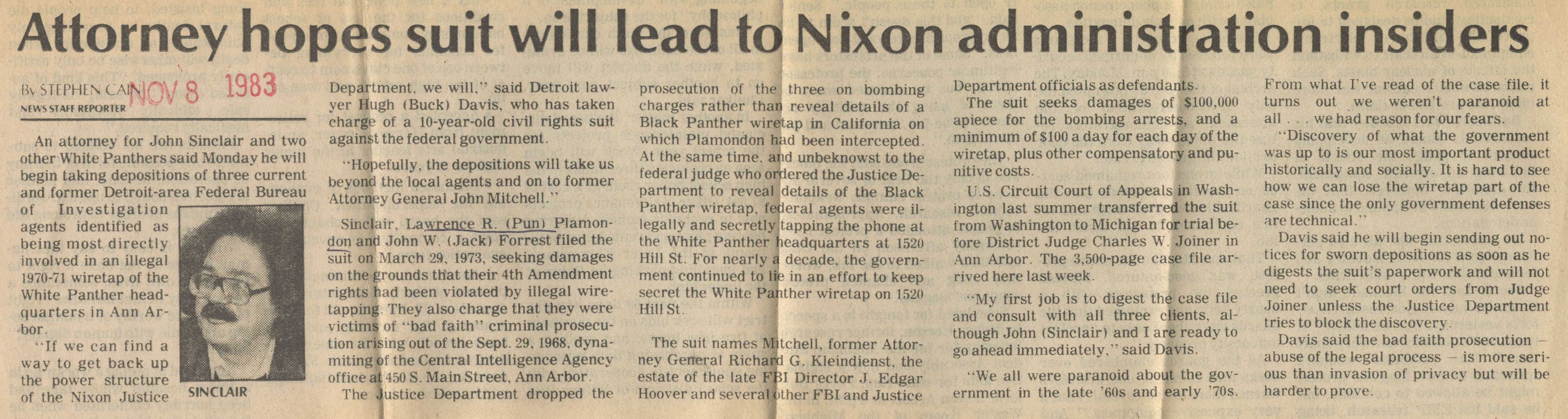 Attorney Hopes Suit Will Lead To Nixon Administration Insiders image