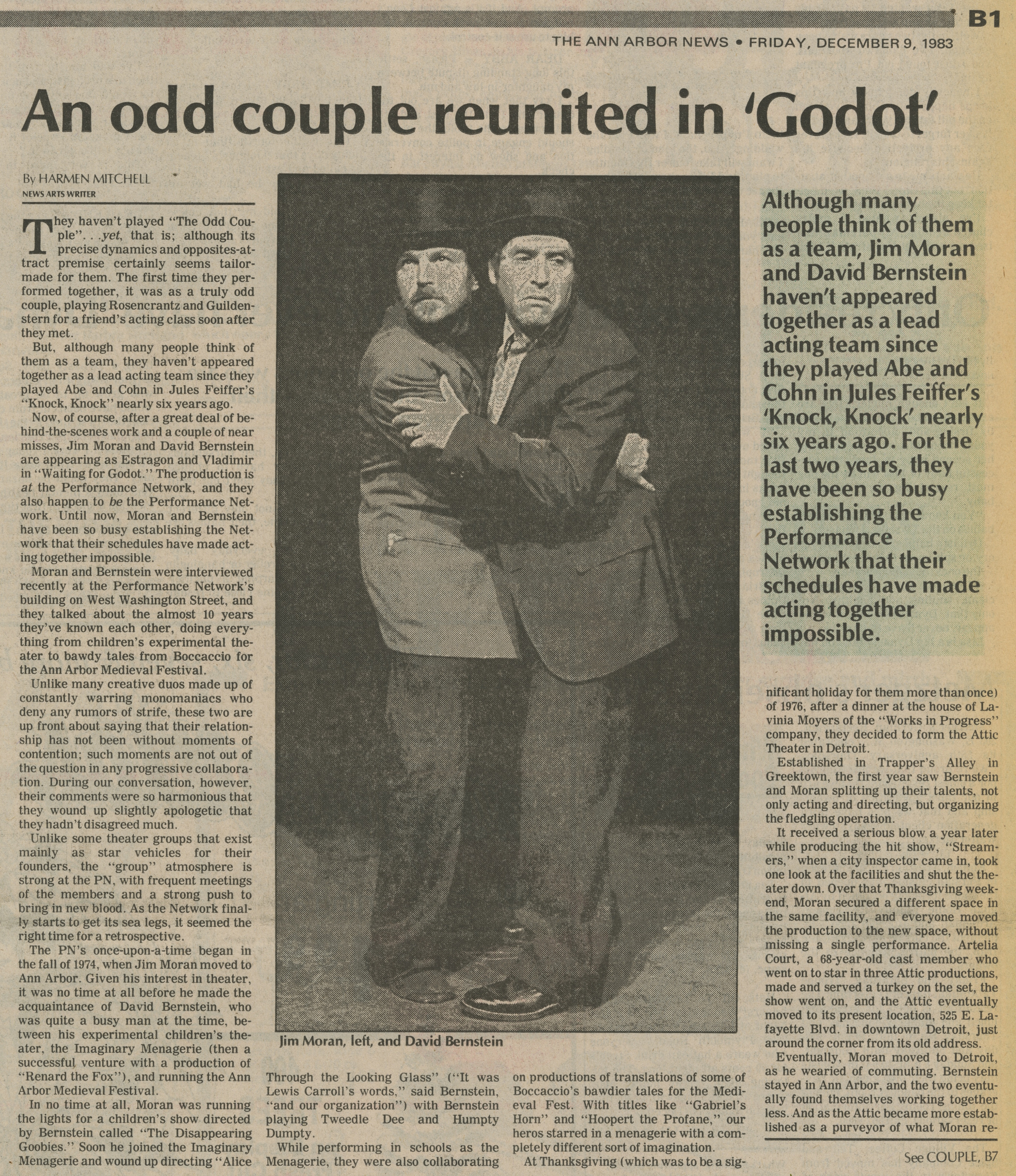 An odd couple reunited in 'Godot' image