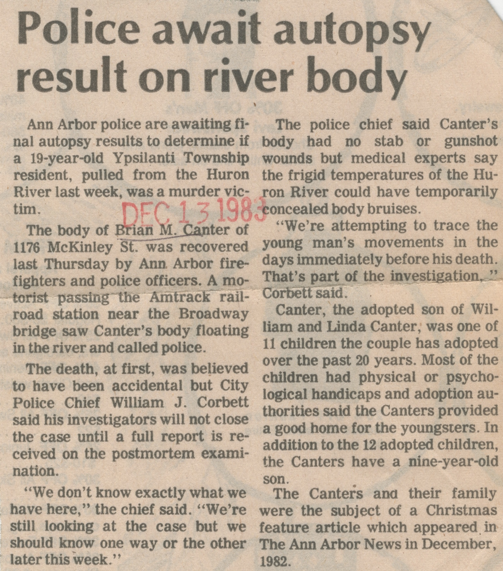 Police Await Autopsy Result On River Body image