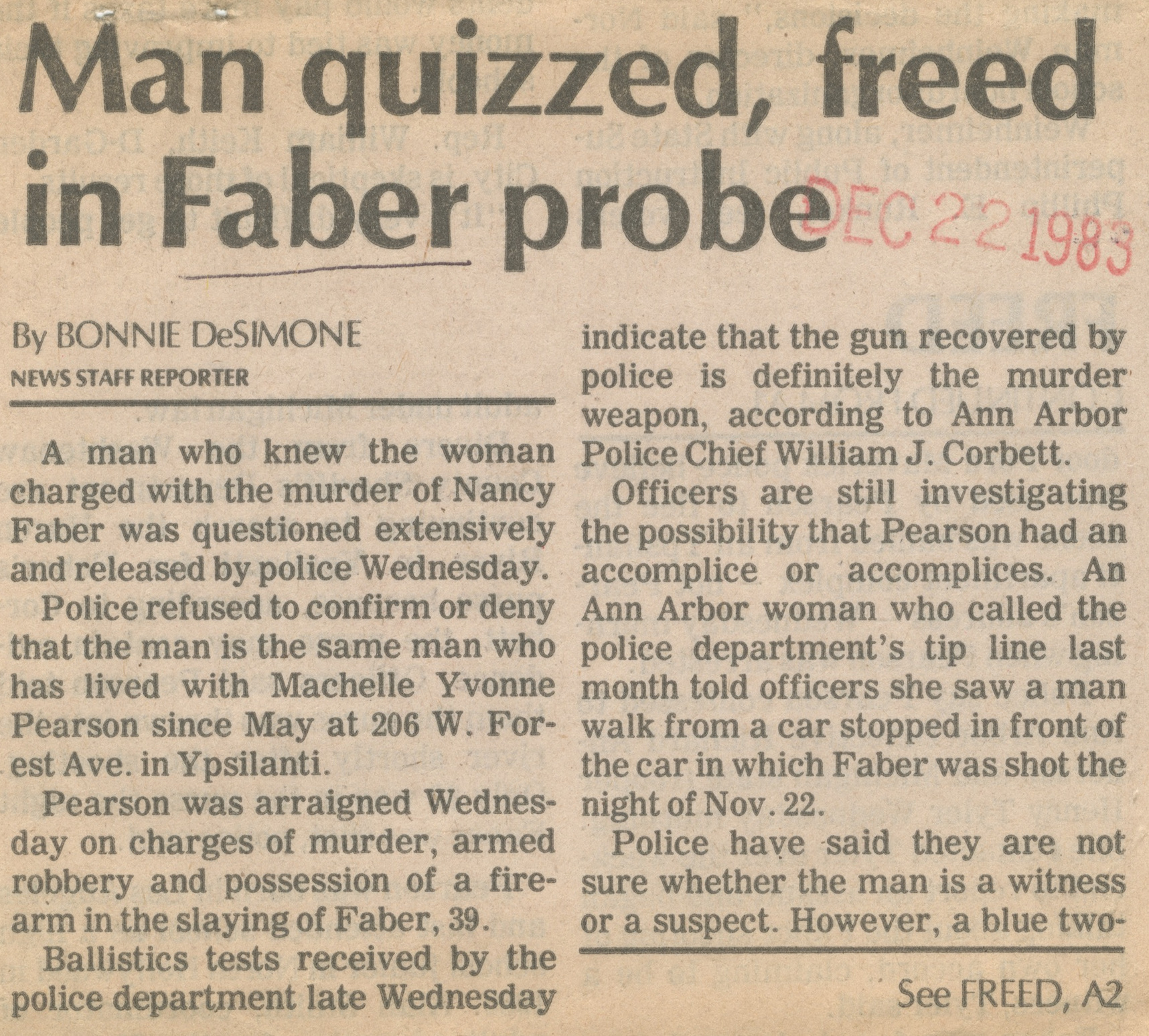 Man Quizzed, Freed In Faber Probe image