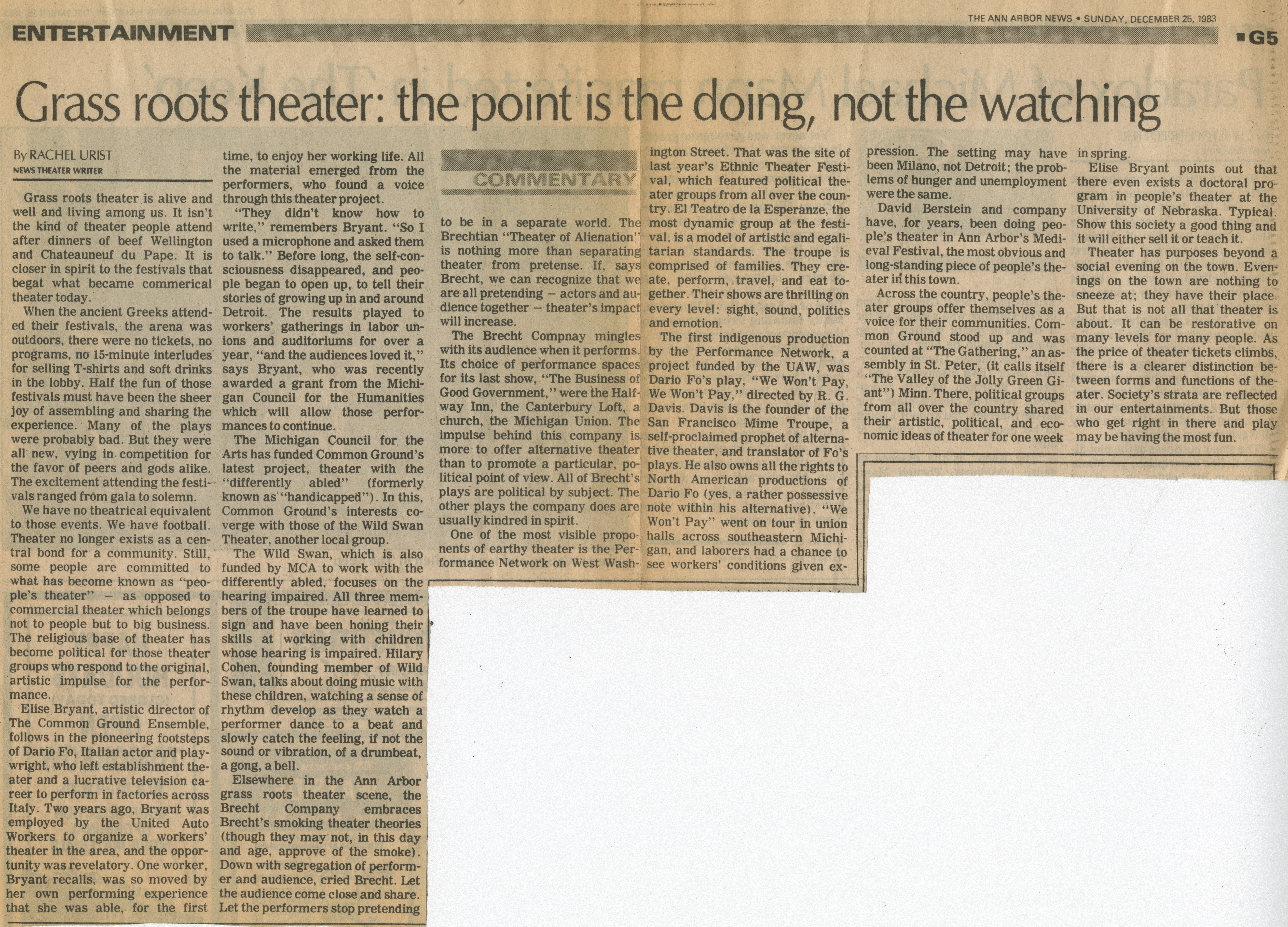 Grass roots theater: the point is the doing, not the watching image