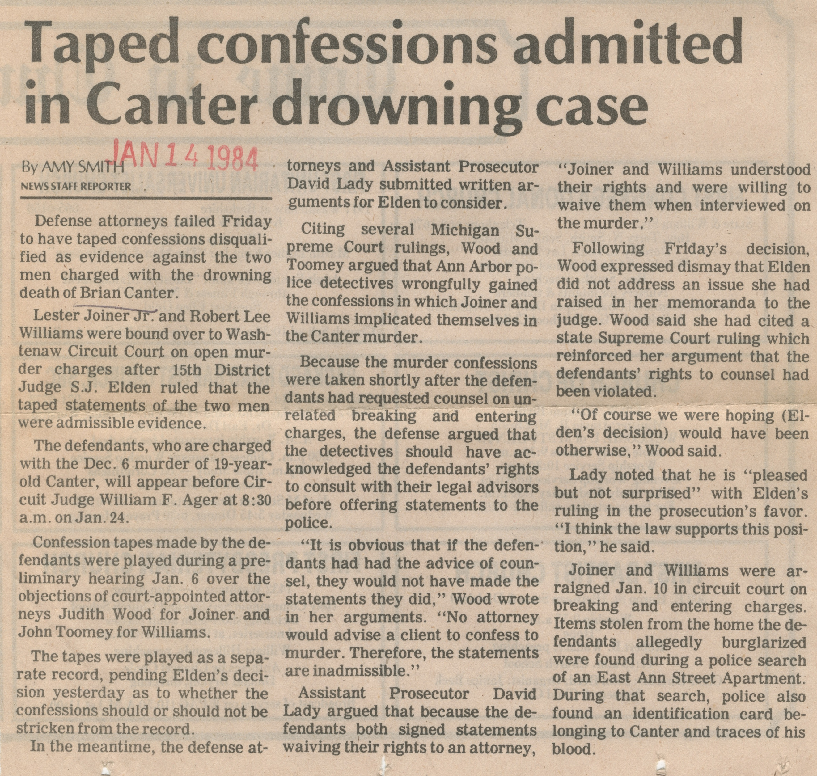 Taped Confessions Admitted In Canter Drowning Case image