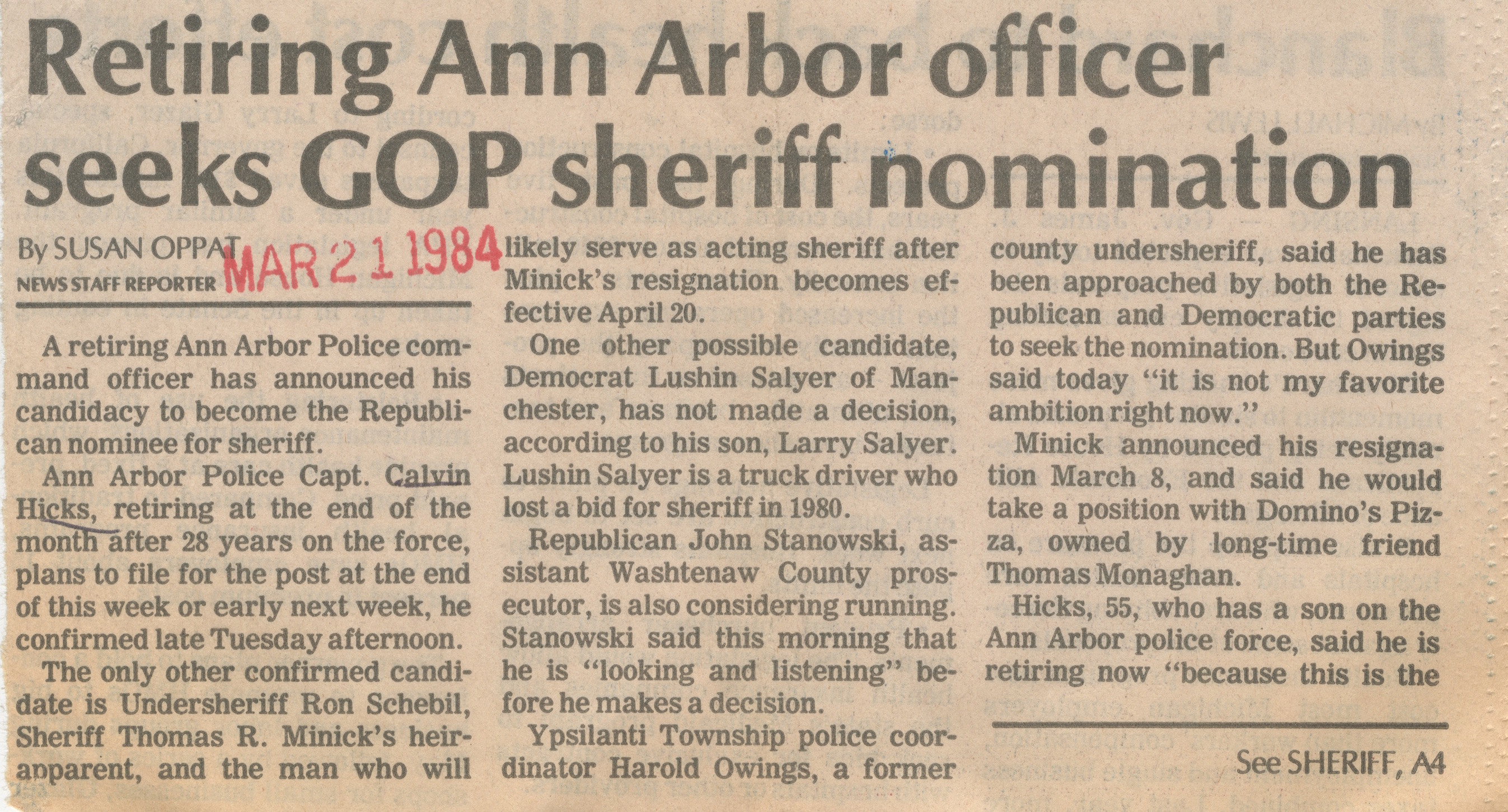 Retiring Ann Arbor Officer Seeks GOP Sheriff Nomination image