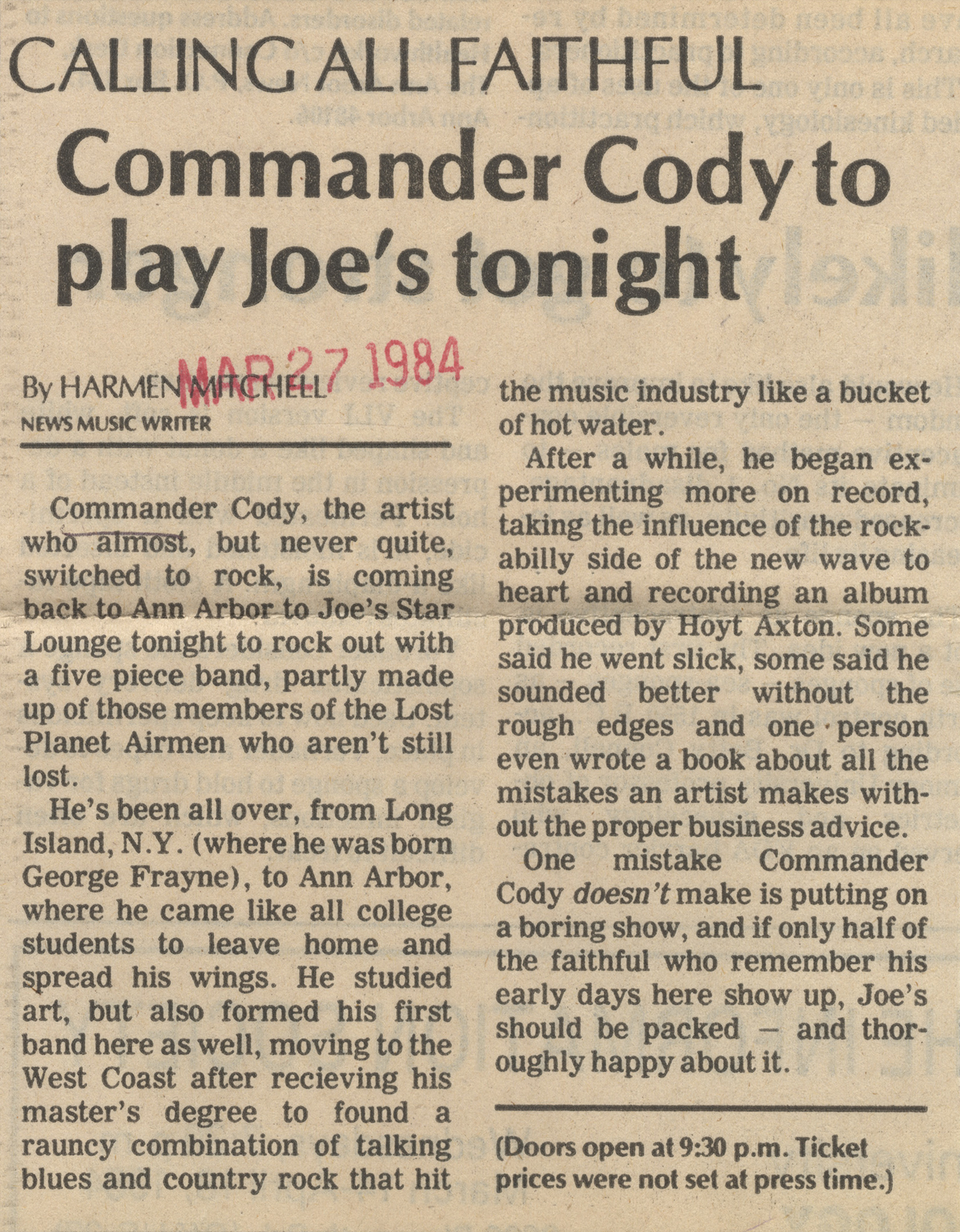 Commander Cody To Play Joe's Tonight image