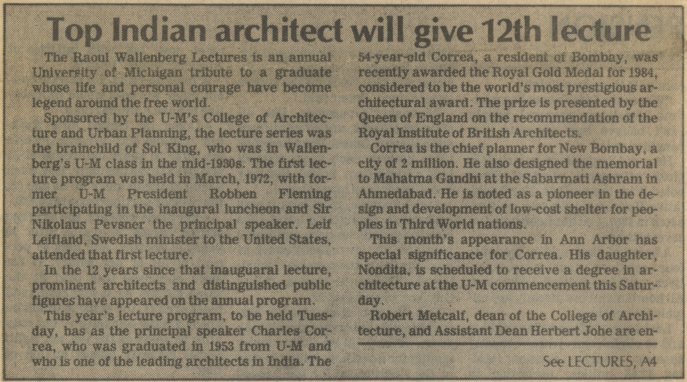 Top Indian Architect Will Give 12th Lecture image