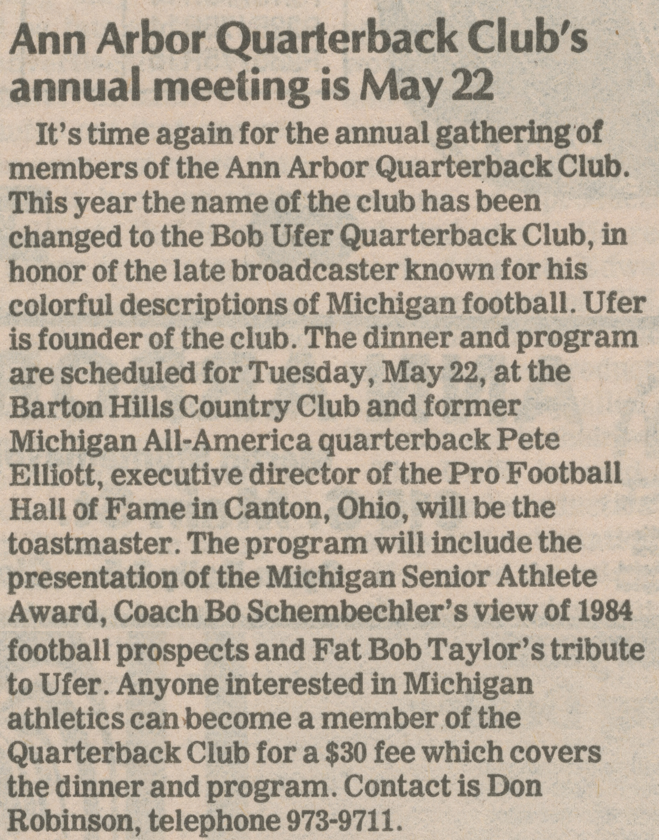 Ann Arbor Quarterback Club's Annual Meeting Is May 22 image
