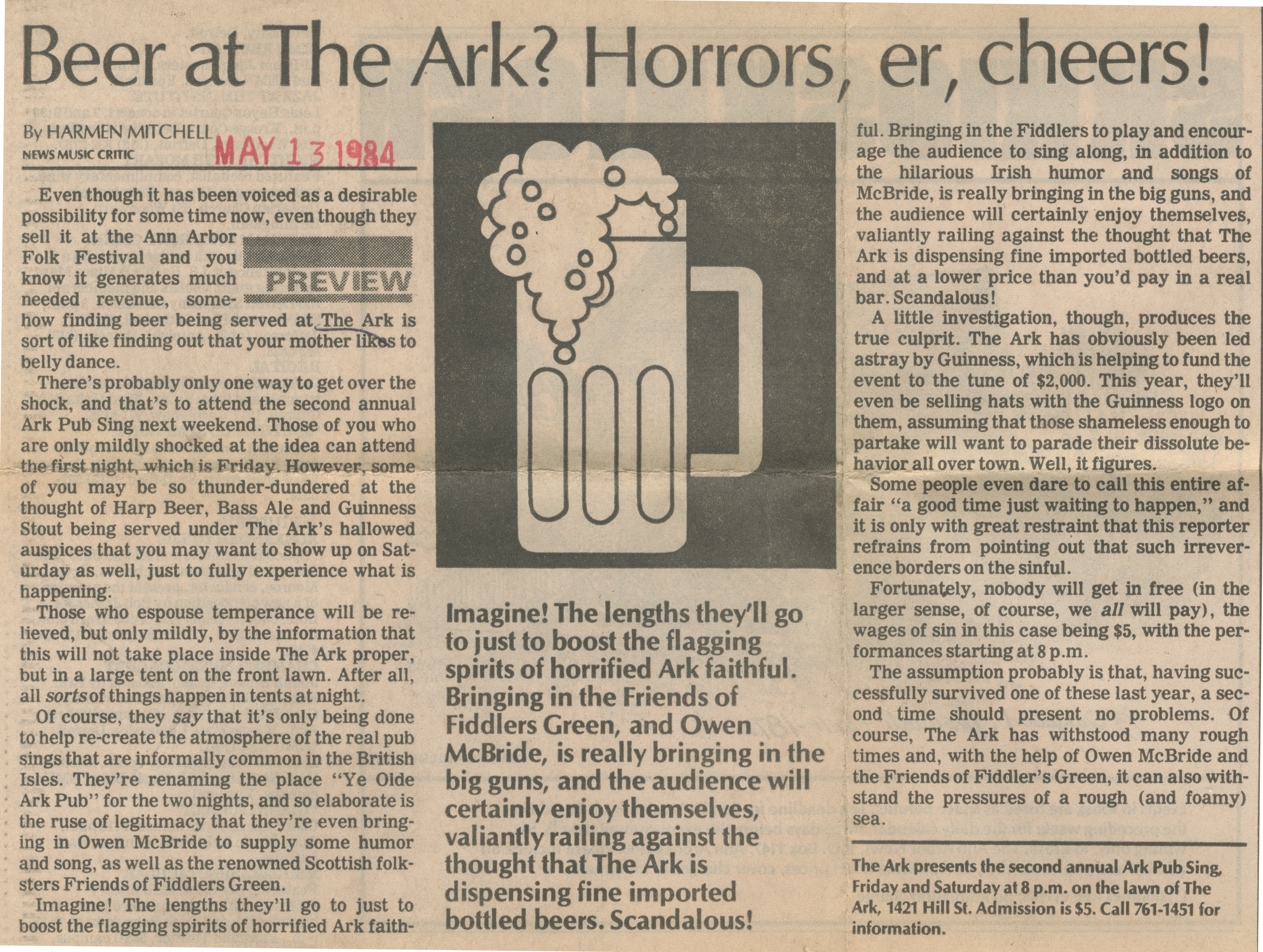 Beer At The Ark? Horrors, er, Cheers! image