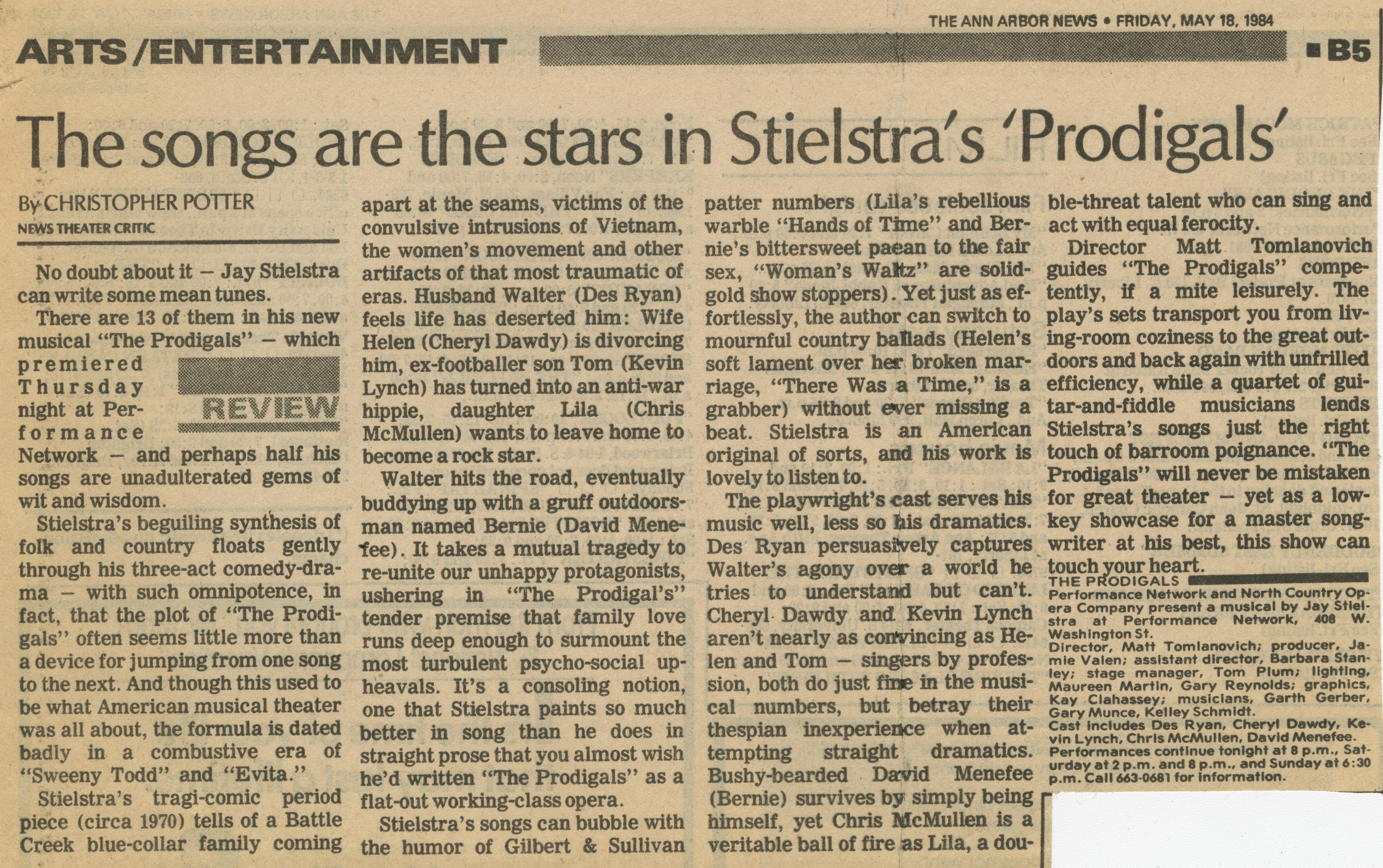 The songs are the stars in Stielstra's 'Prodigals' image
