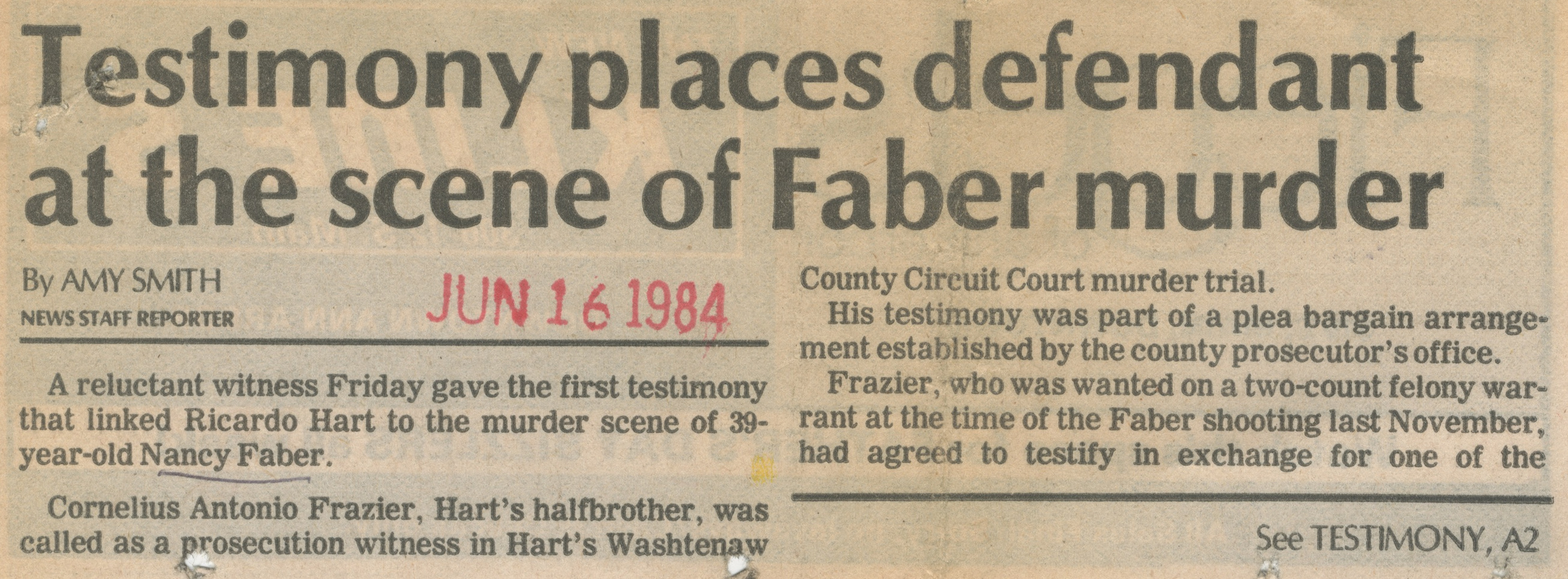 Testimony Places Defendant At The Scene Of Faber Murder image