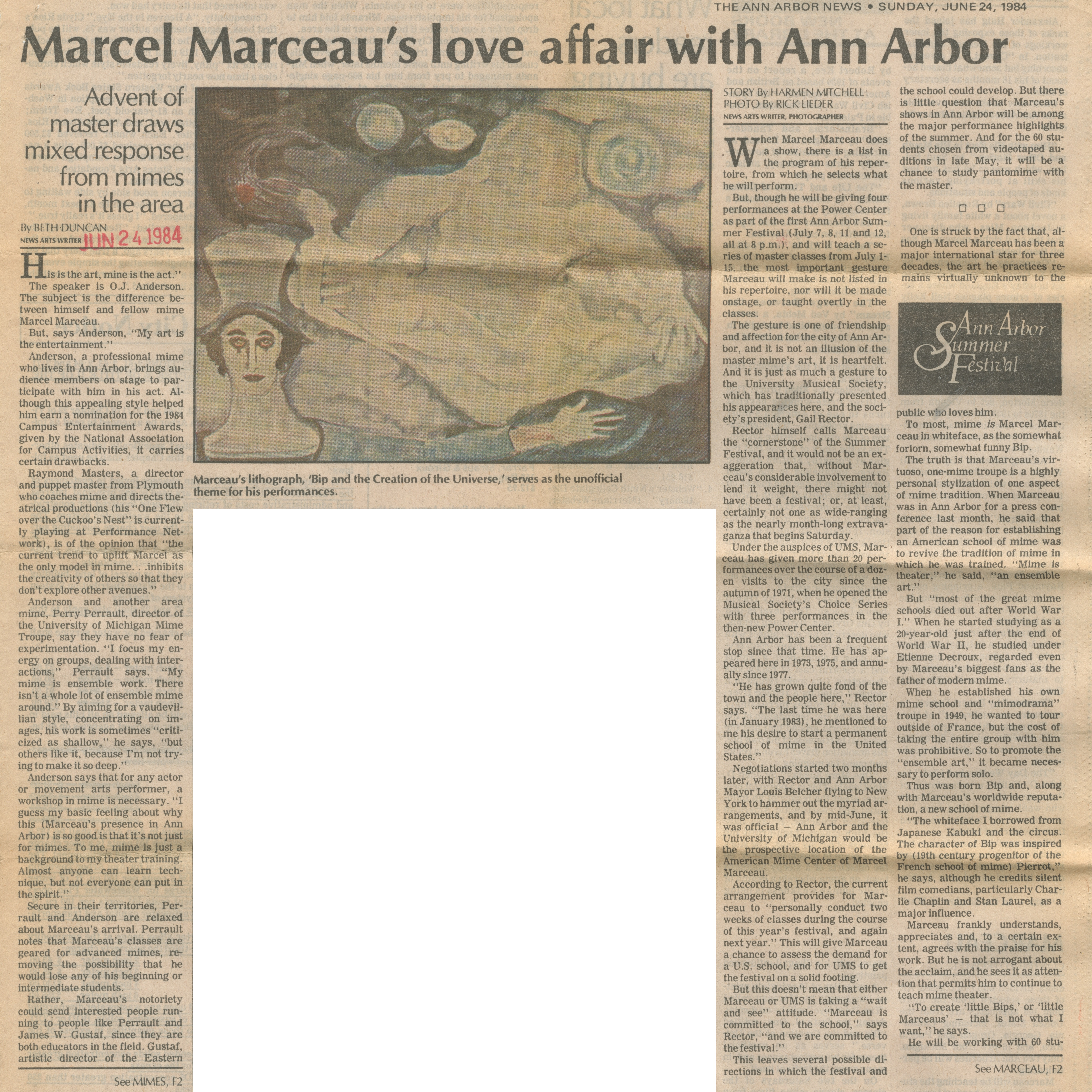 Marcel Marceau's love affair with Ann Arbor image