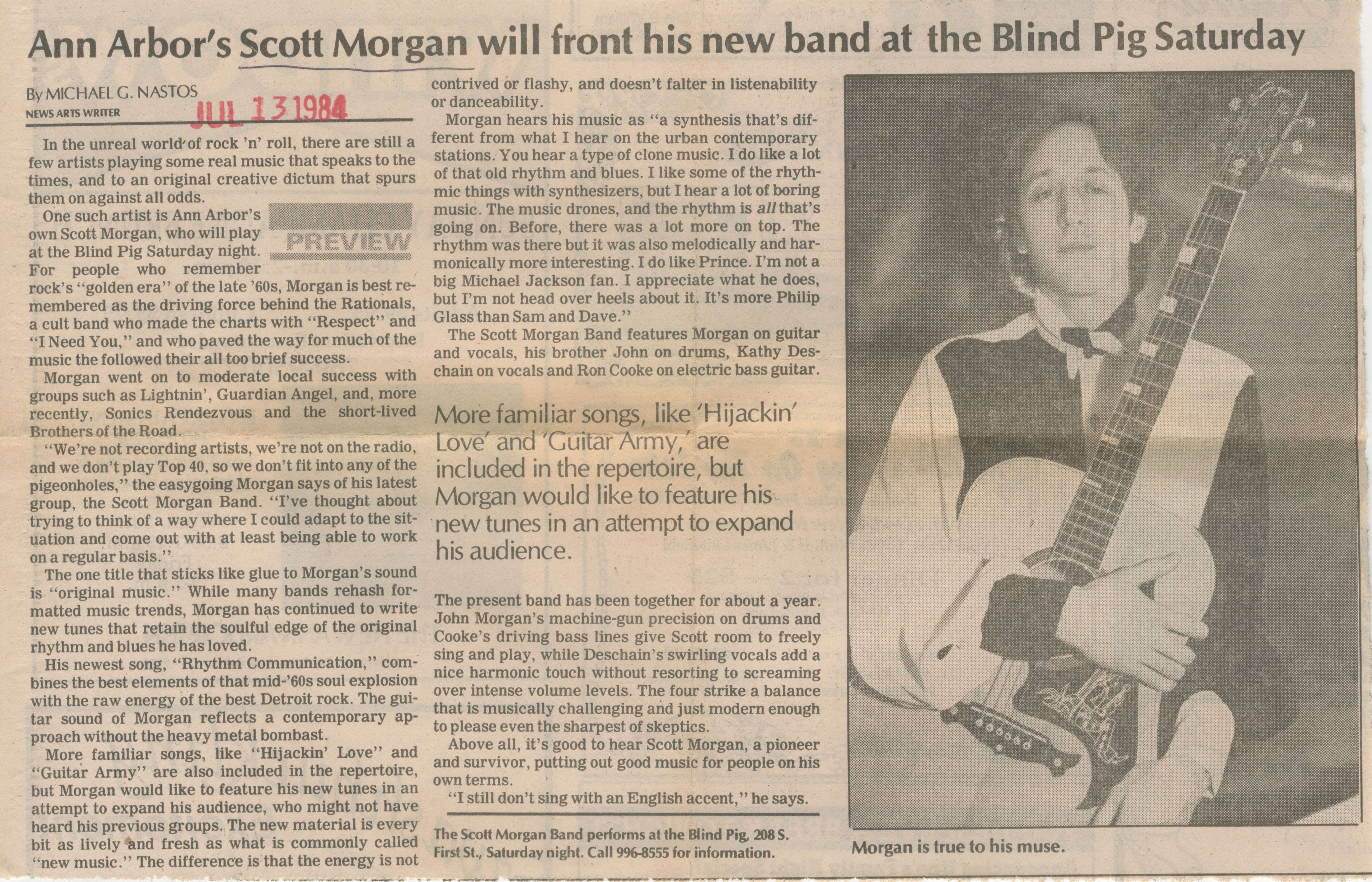 Ann Arbor's Scott Morgan Will Front His New Band At The Blind Pig Saturday image