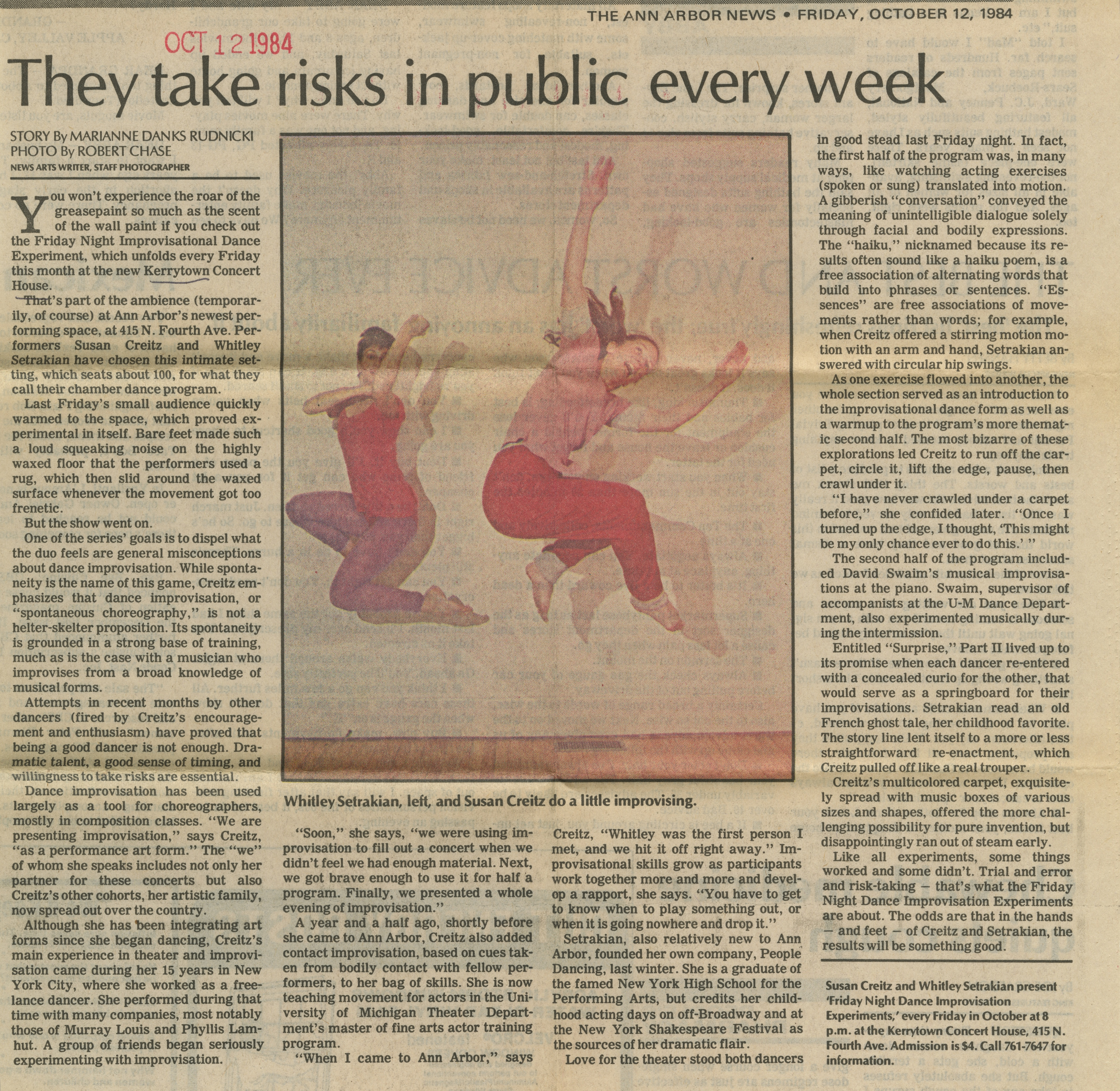 They take risks in public every week image