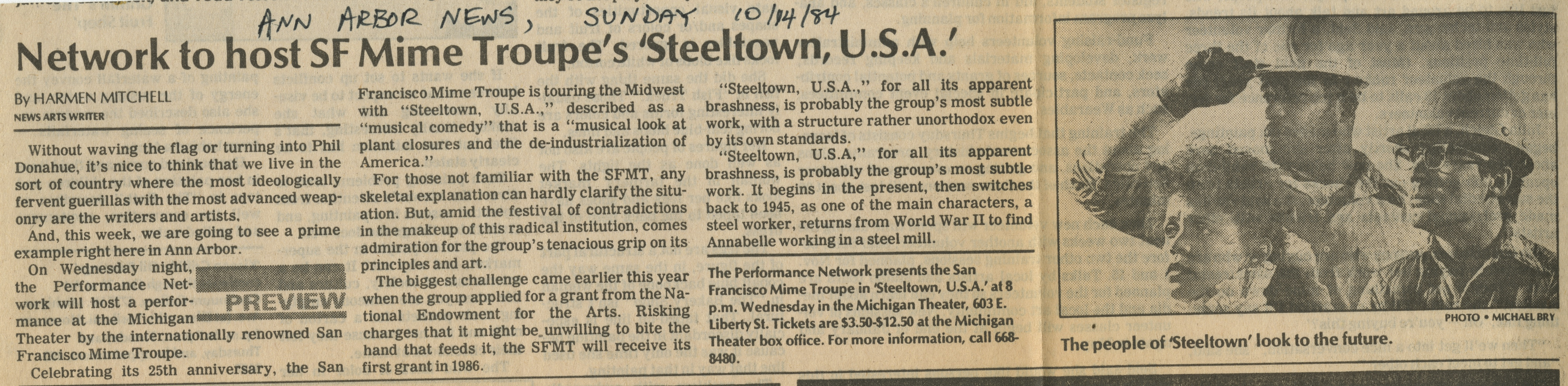 Network to host SF Mime Troupe's 'Steeltown, U.S.A.' image