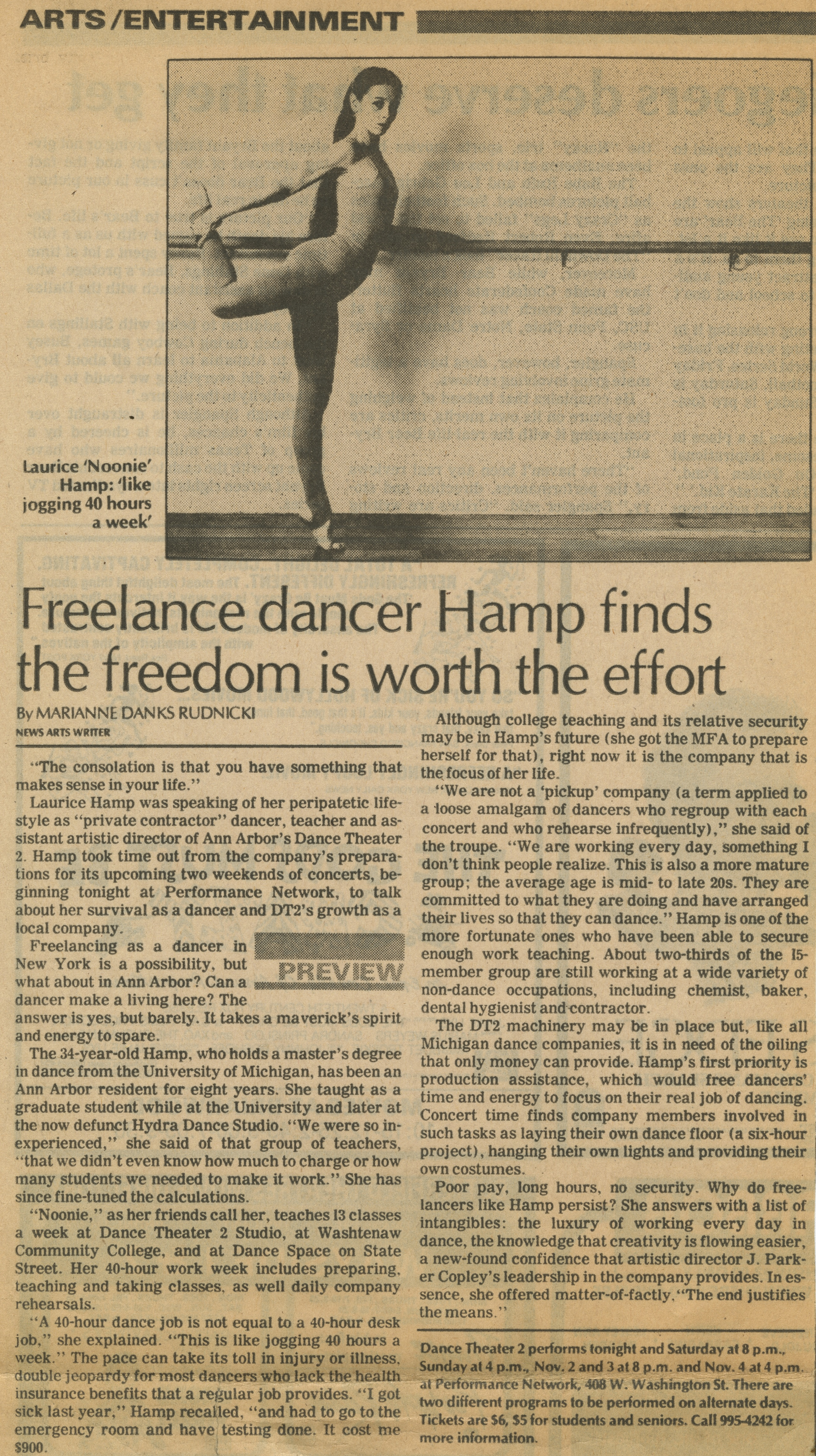 Freelance dancer Hamp finds the freedom is worth the effort image