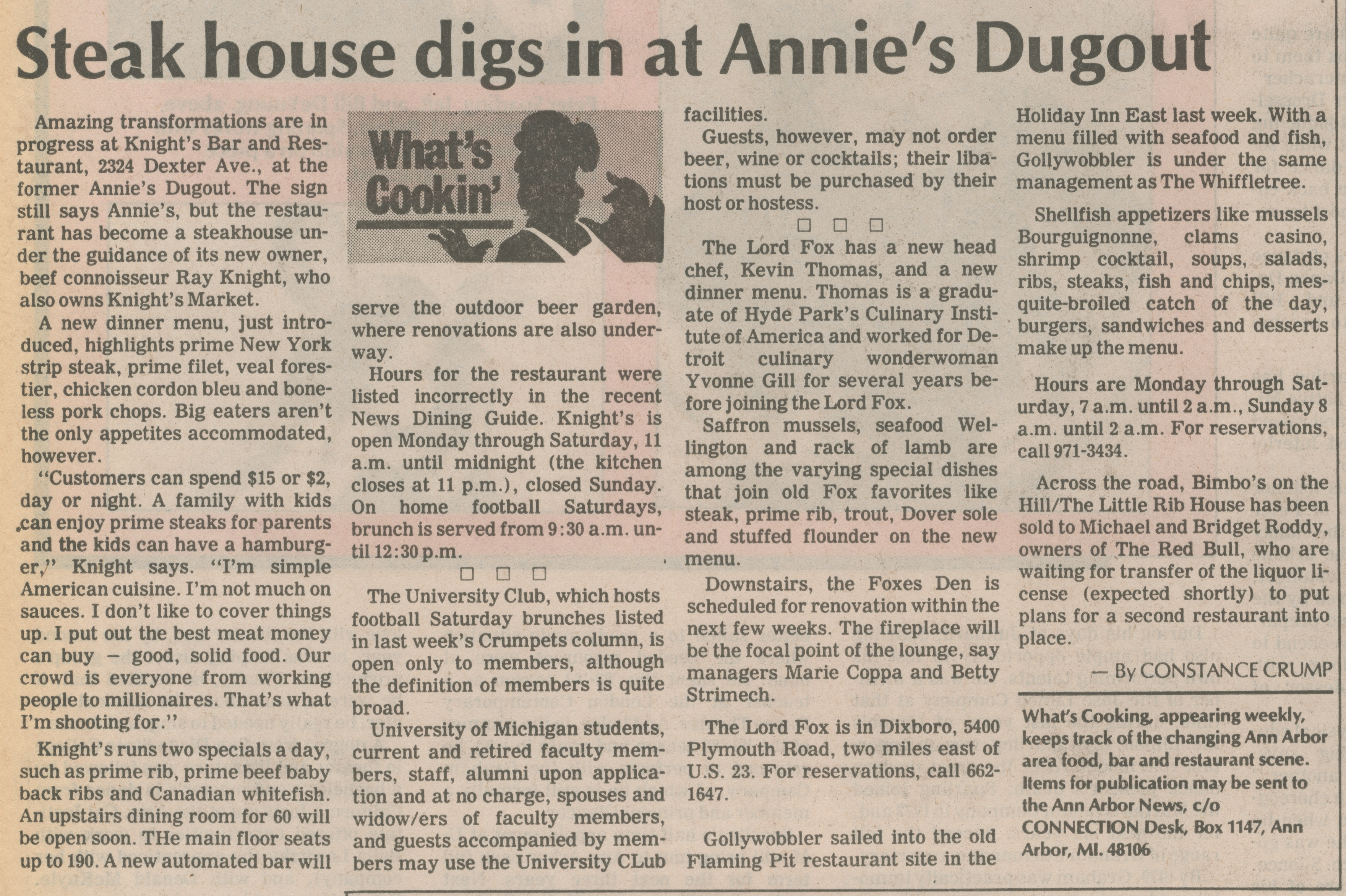 Steak House Digs In At Annie's Dugout image
