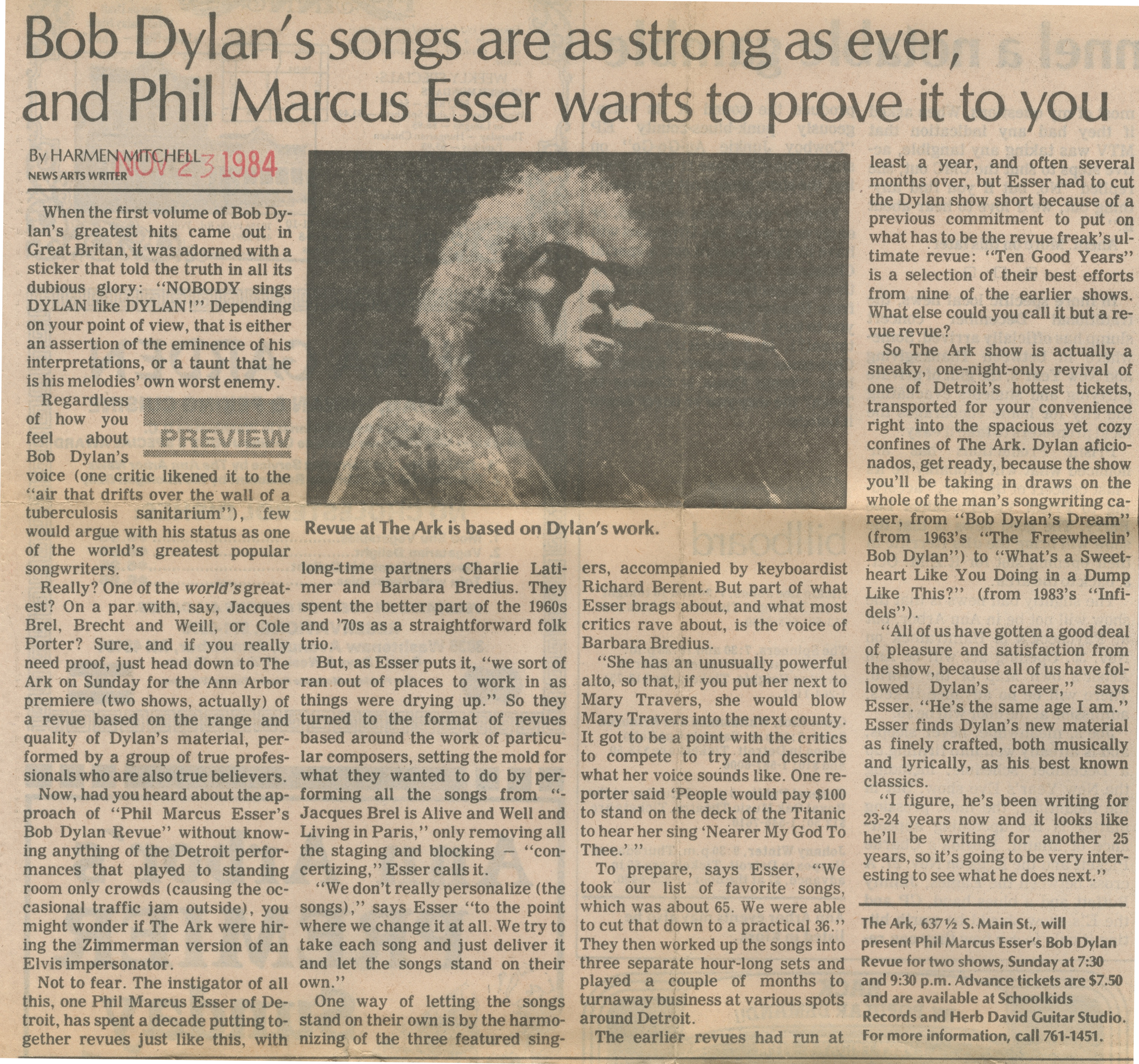 Bob Dylan's Songs Are As Strong As Ever, And Phil Marcus Esser Wants To Prove It To You image