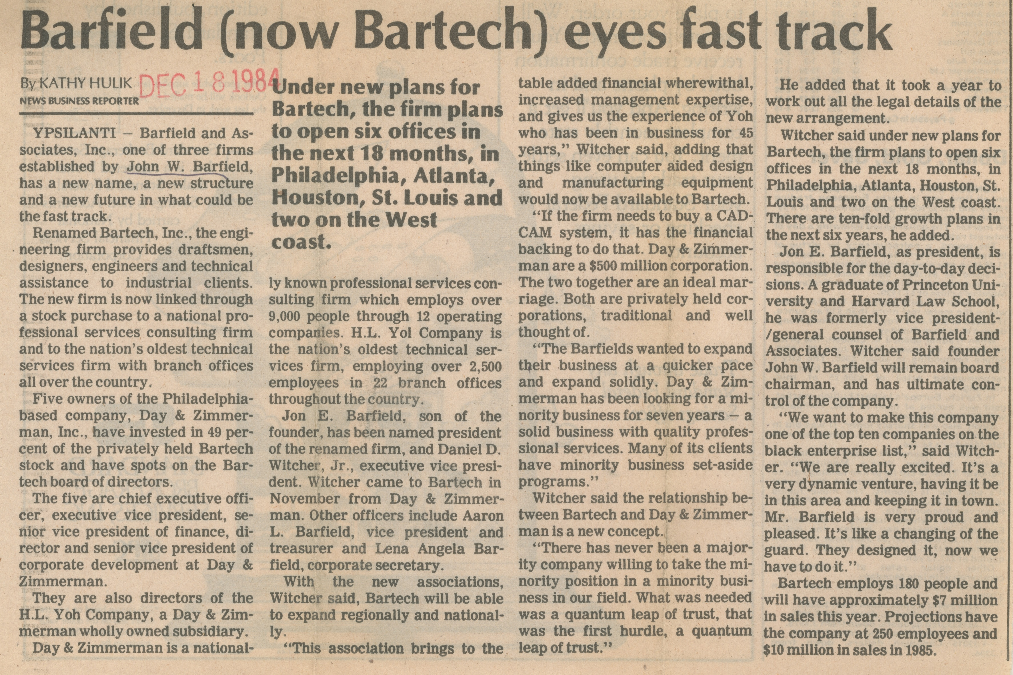 Barfield (Now Bartech) Eyes Fast Track image