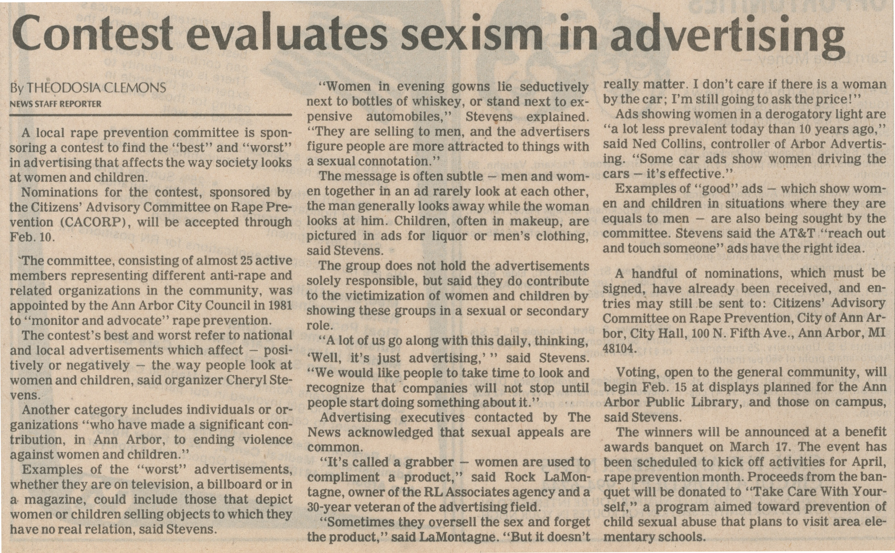 Contest Evaluates Sexism In Advertising image