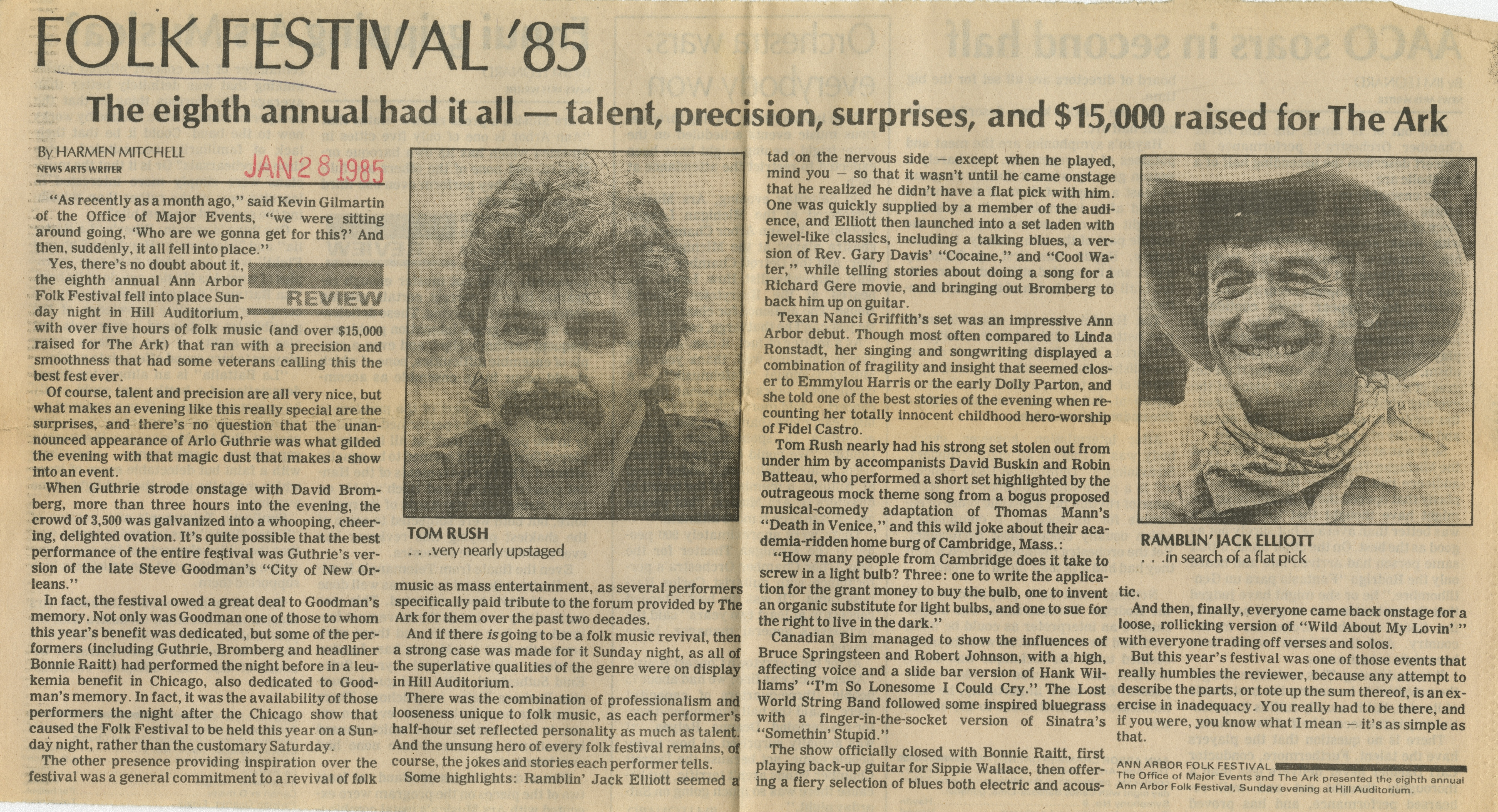 Folk Festival '85 The eighth annual had it all - talent, precision, surprises, and $15,000 raised for The Ark image