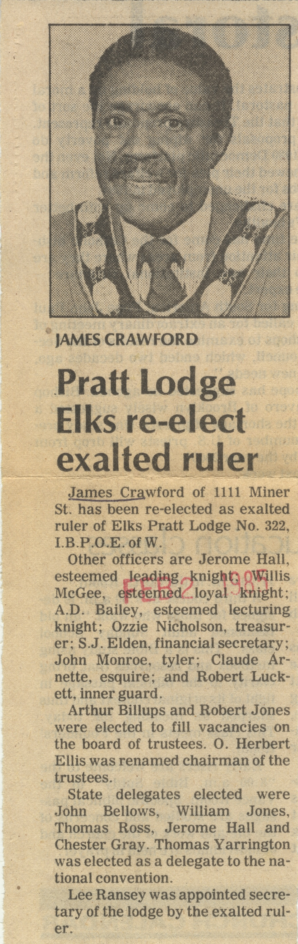 Pratt Lodge Elks Re-Elect Exalted Ruler image