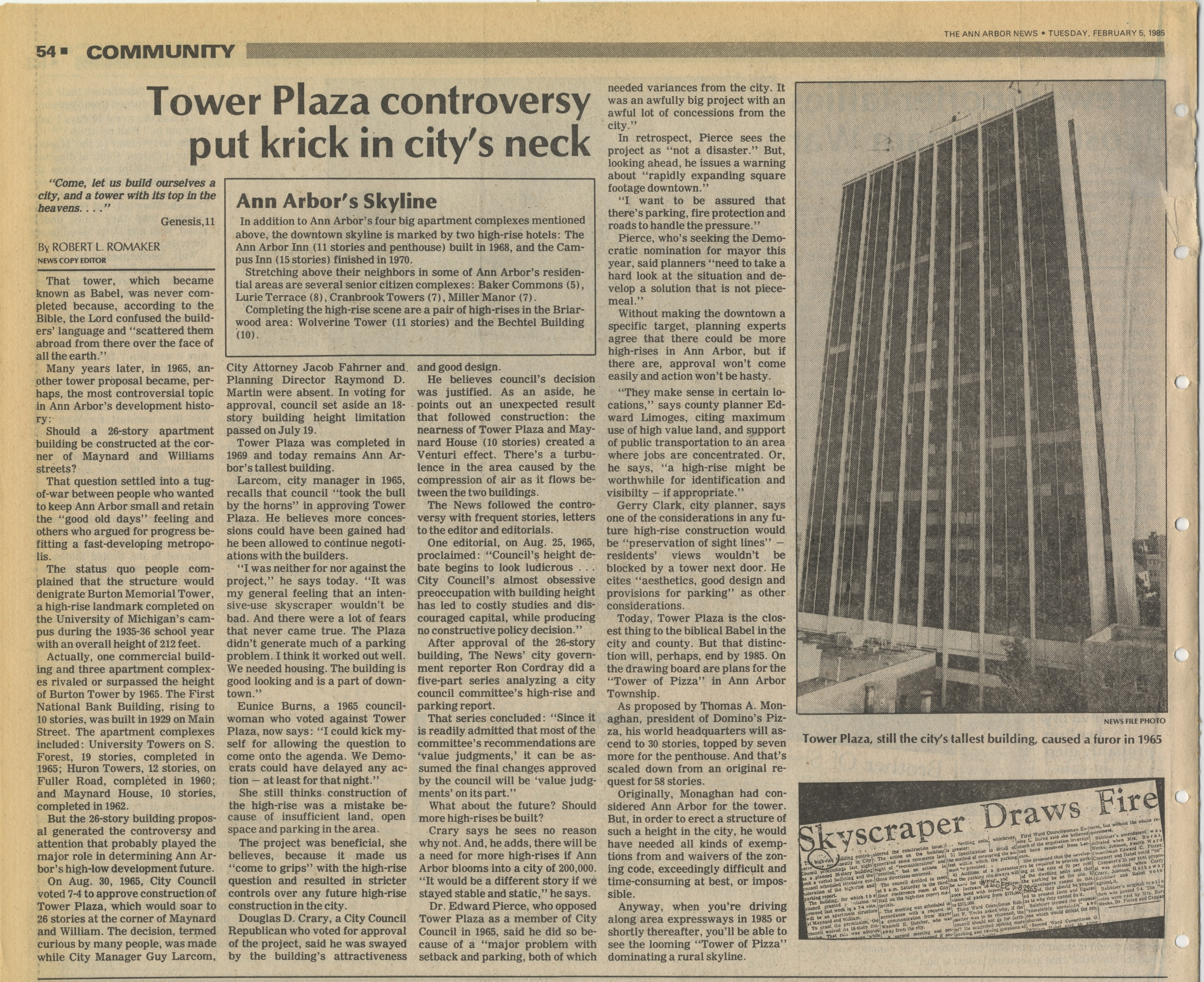 Tower Plaza Controversy Put Krick In City's Neck image