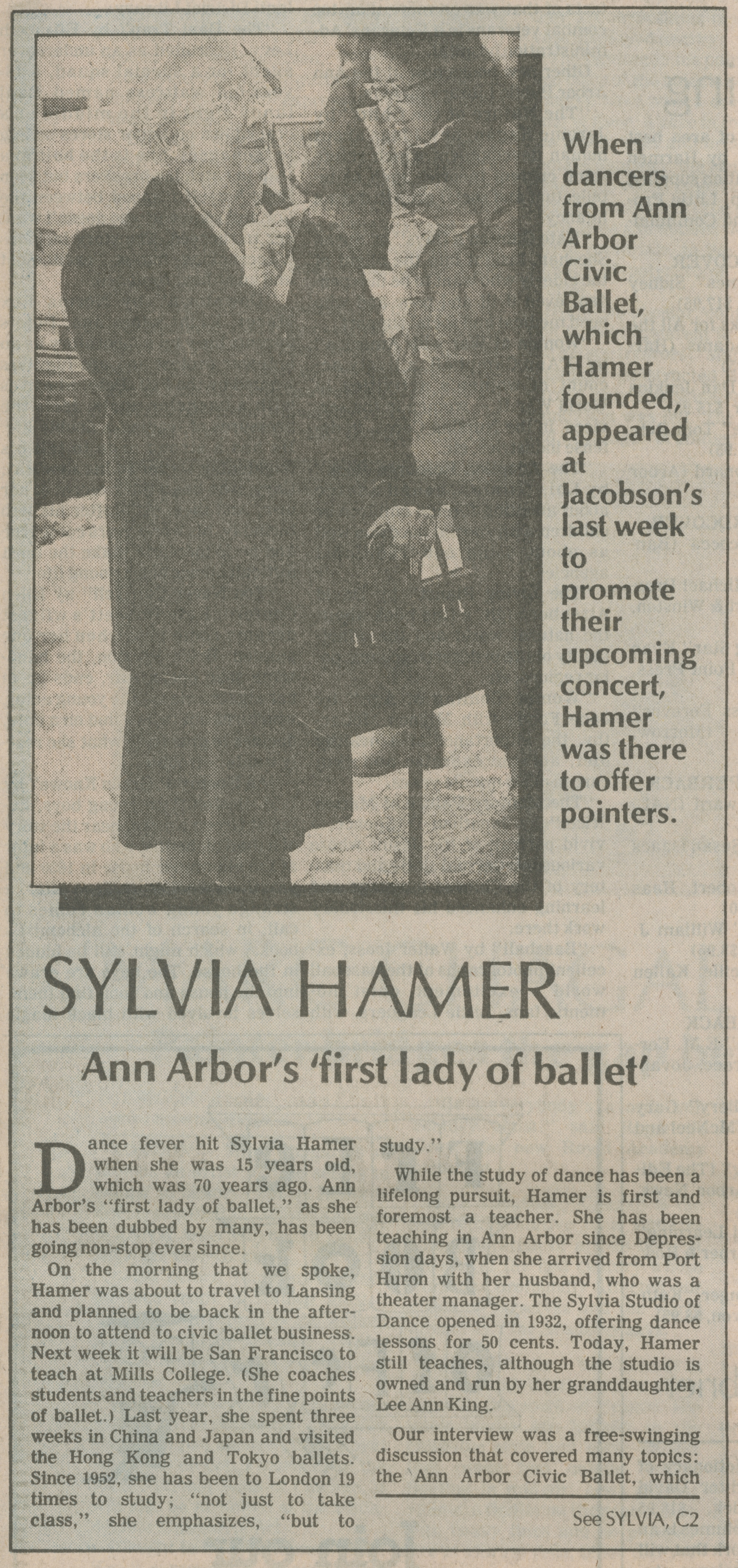 Sylvia Hamer Ann Arbor's 'first lady of ballet' image