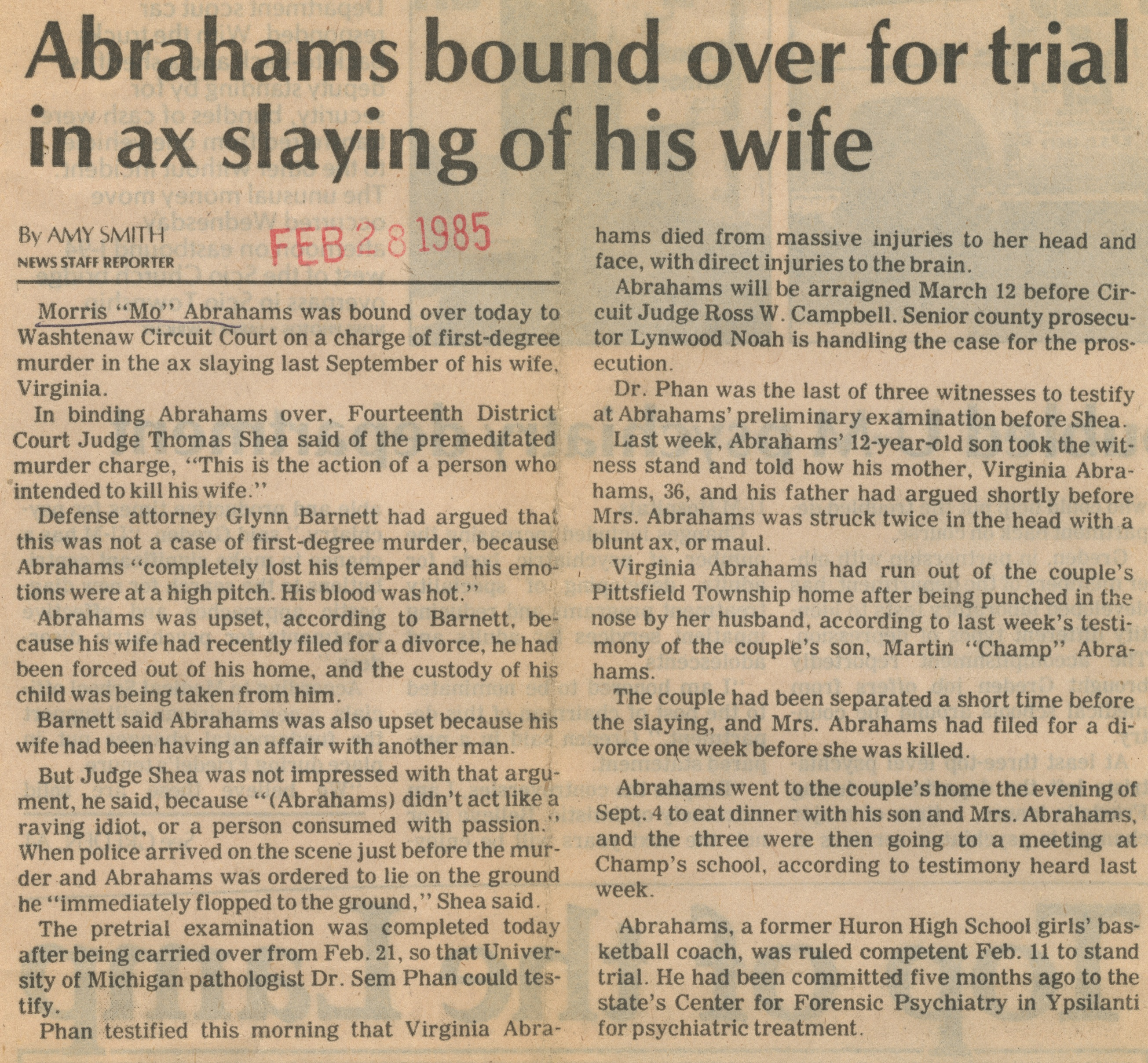 Abrahams Bound Over For Trial In Ax Slaying Of His Wife image